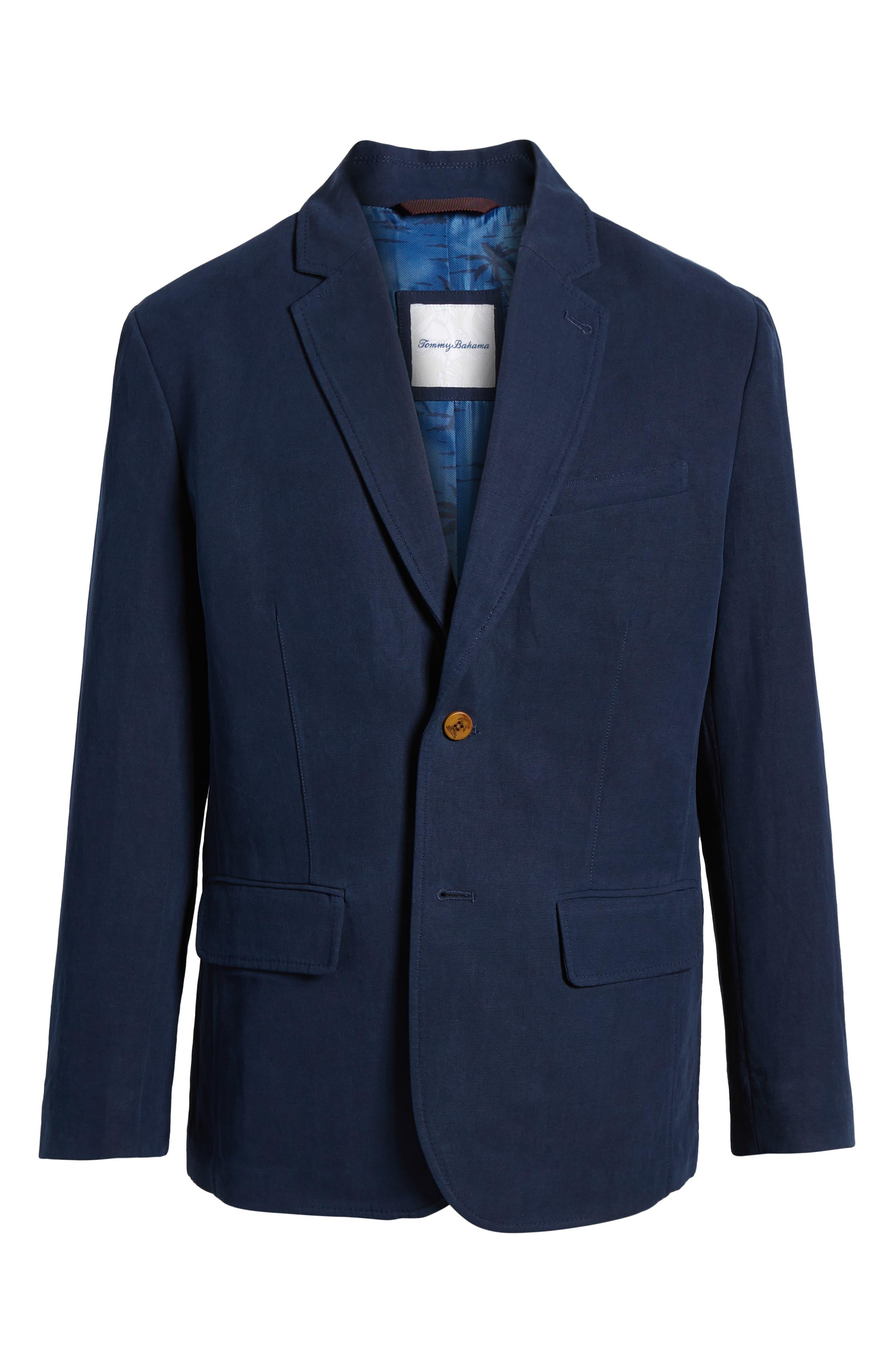 Monterey Silk & Linen Blazer,                             Alternate thumbnail 6, color,                             Ocean Deep