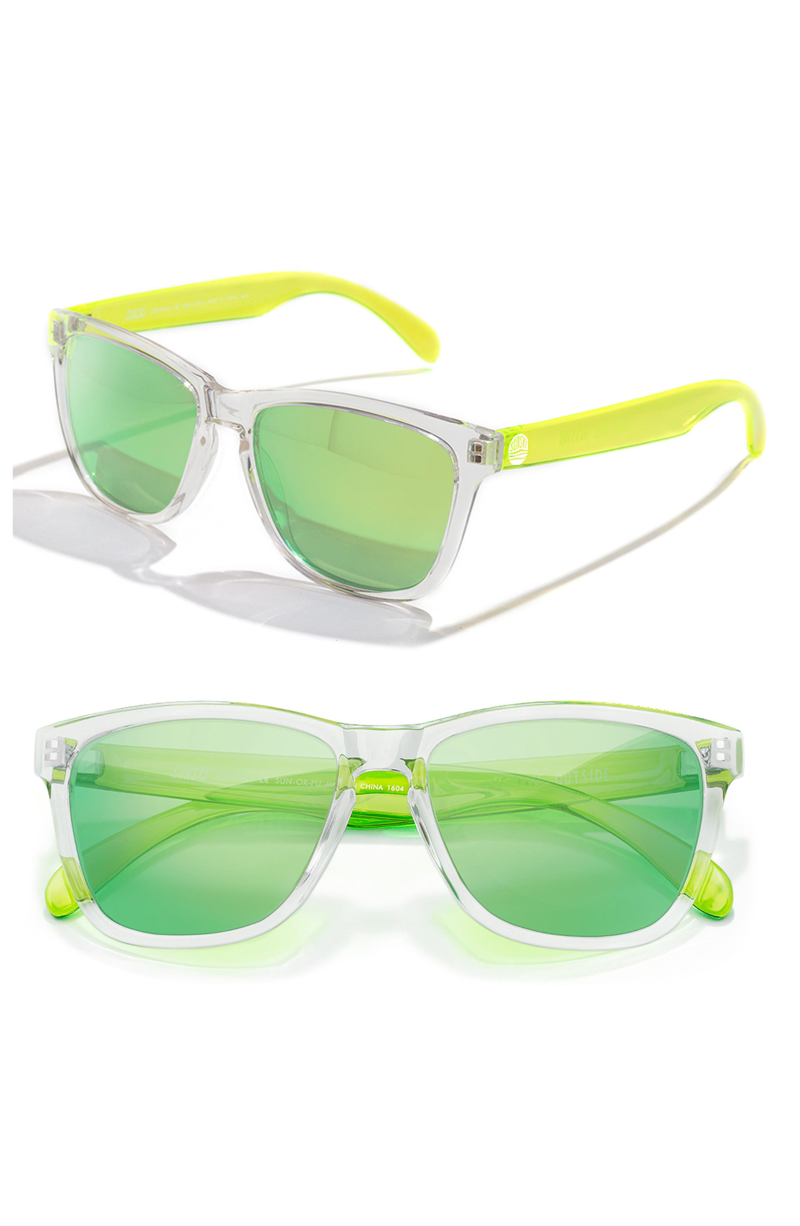 Original 53mm Polarized Sunglasses,                             Main thumbnail 1, color,                             Clear / Lime
