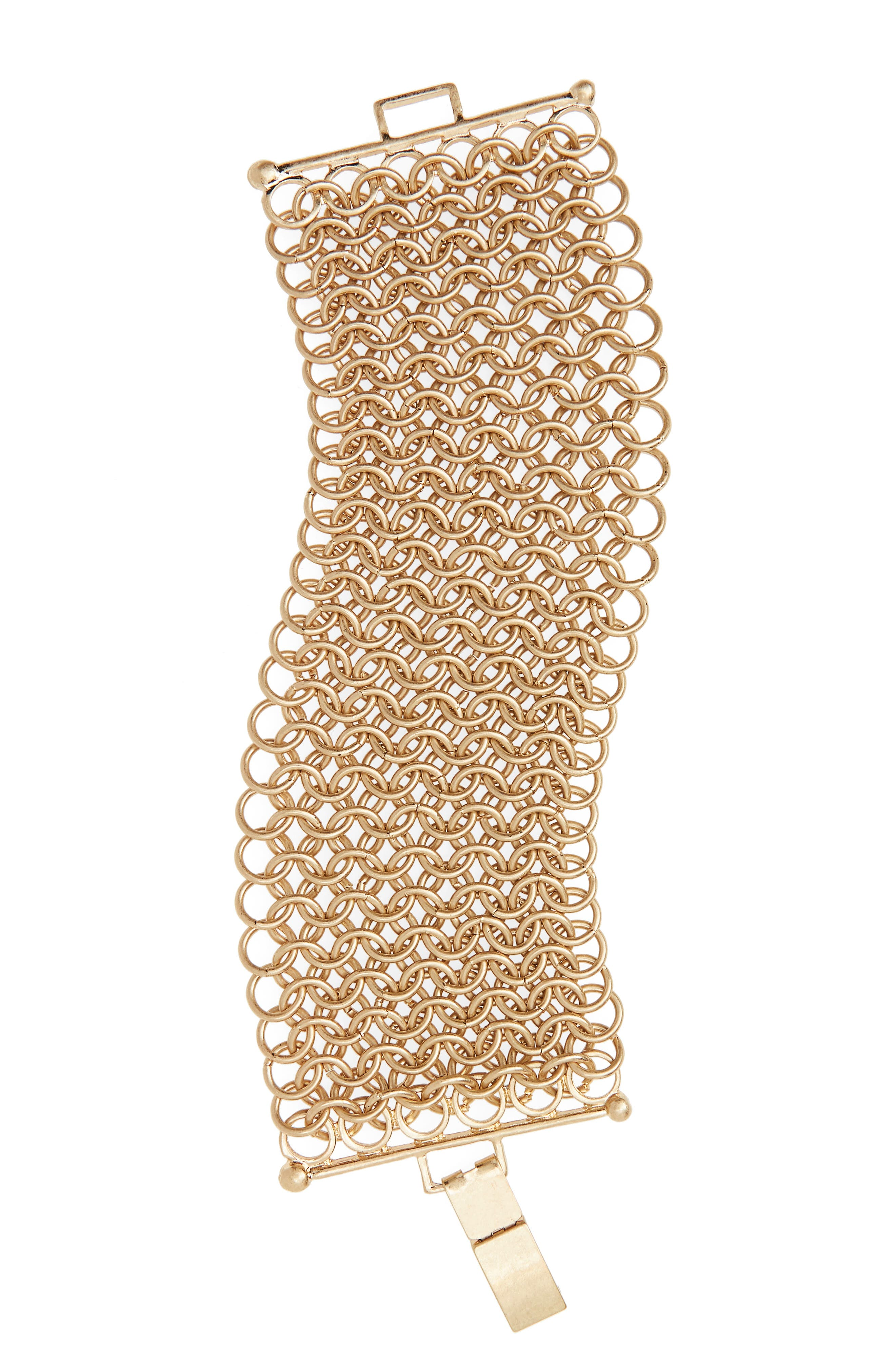 Interlocking Mesh Chain Bracelet,                             Main thumbnail 1, color,                             Gold