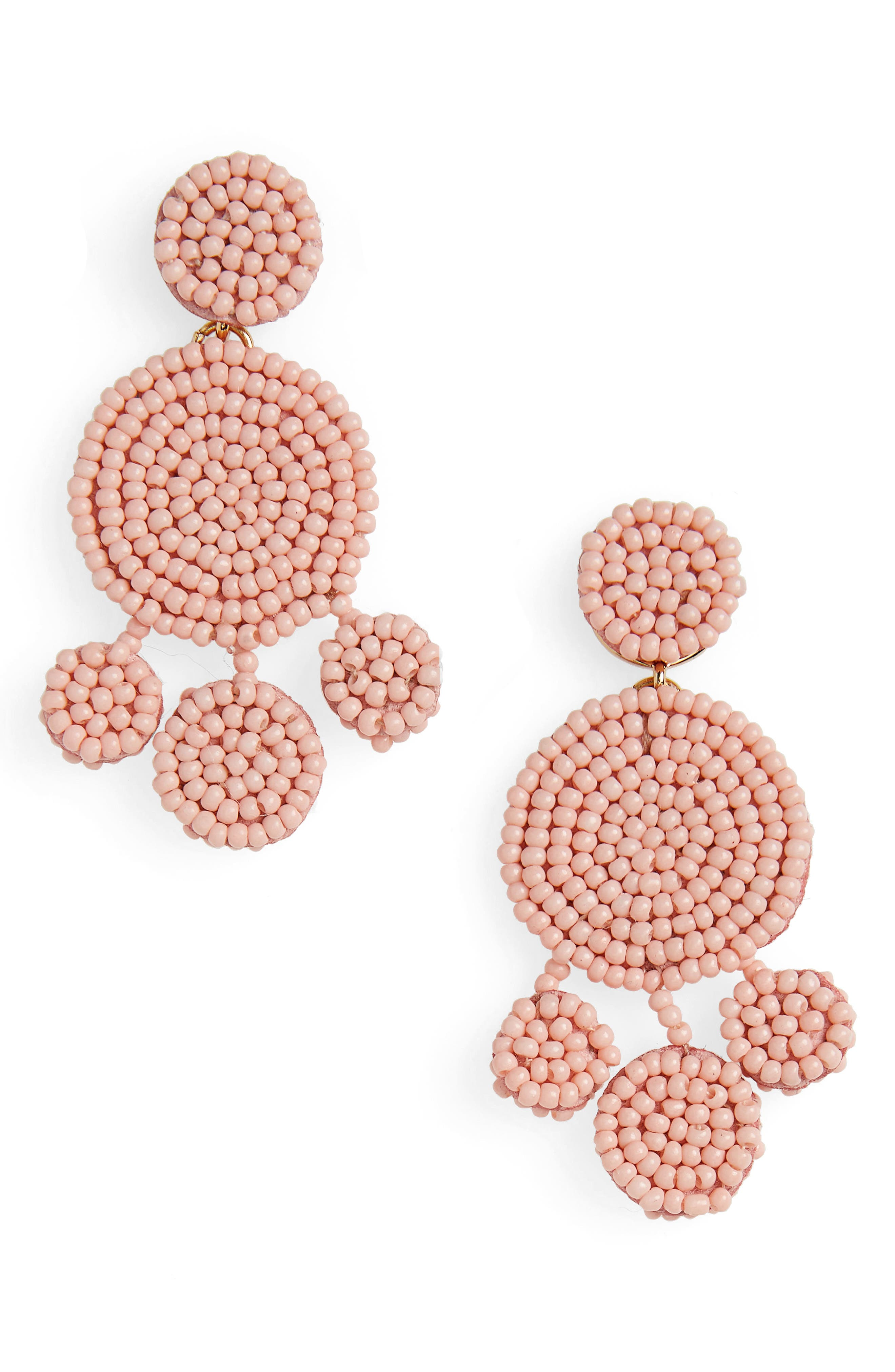 Beaded Disc Chandelier Earrings,                             Main thumbnail 1, color,                             Blossom