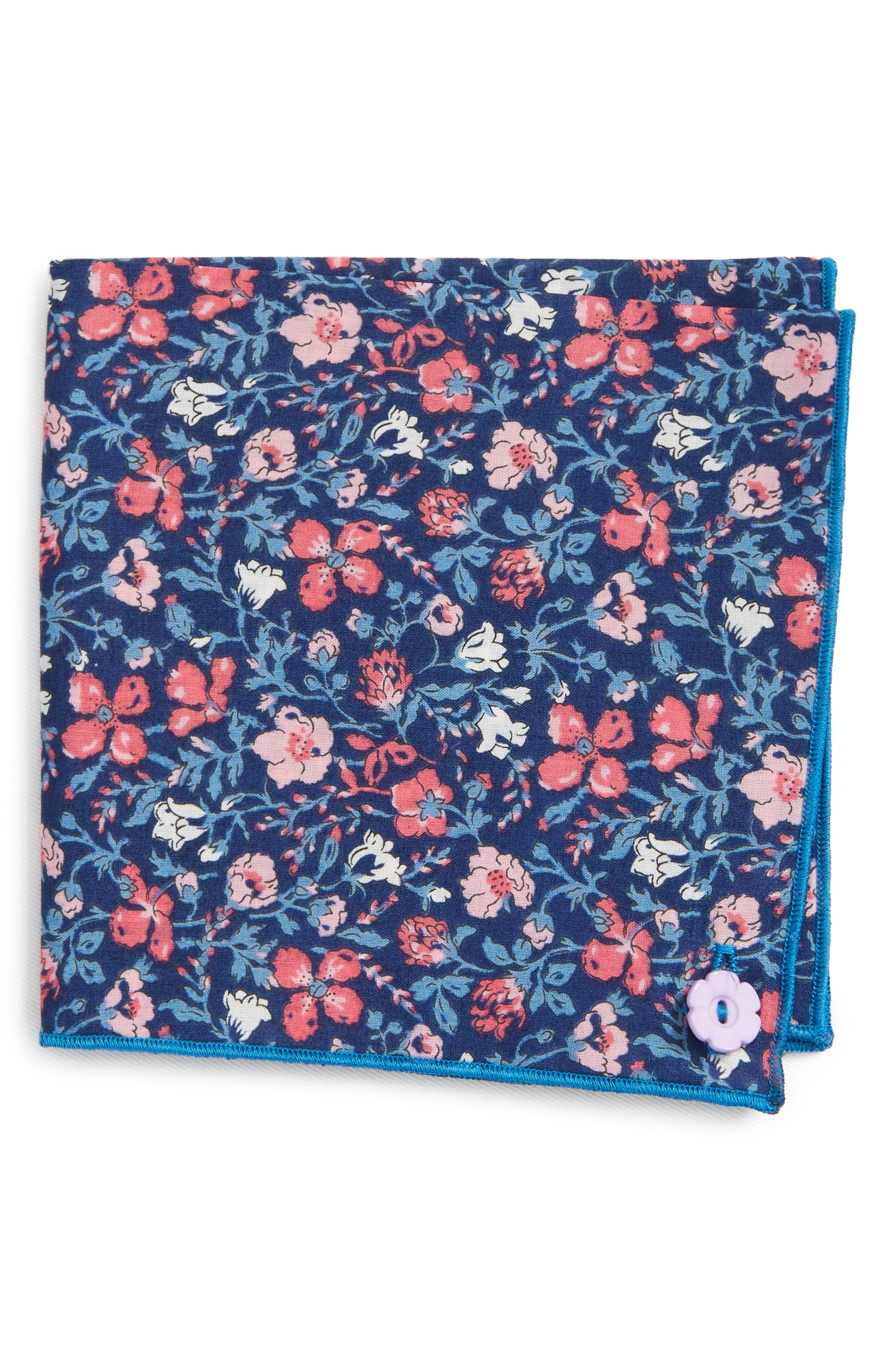 Mixed Berries Cotton Pocket Square,                         Main,                         color, Blue