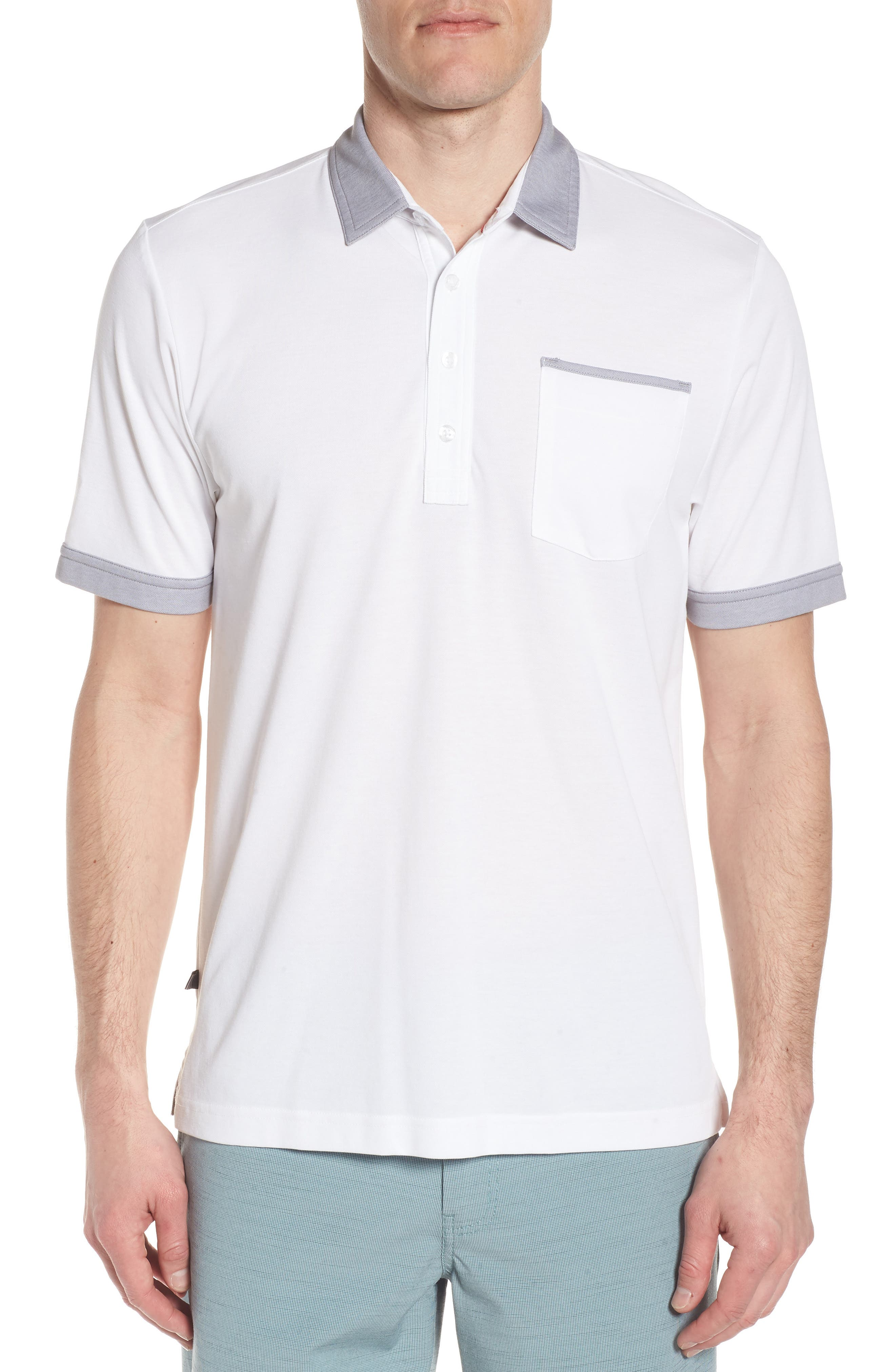 K-Lew Piqué Polo,                         Main,                         color, White