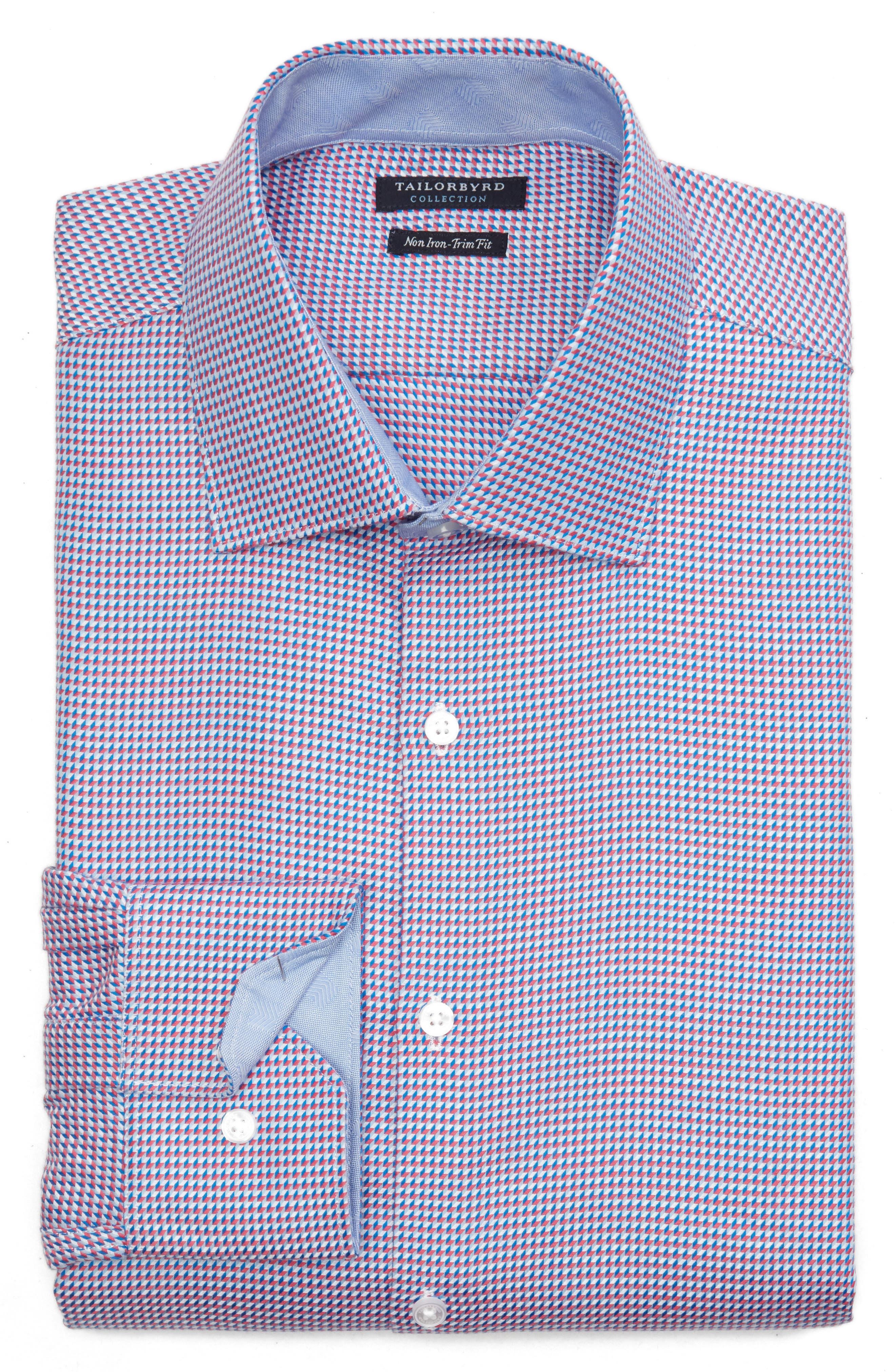 Axton Trim Fit Geometric Dress Shirt,                             Alternate thumbnail 6, color,                             Red/ Blue