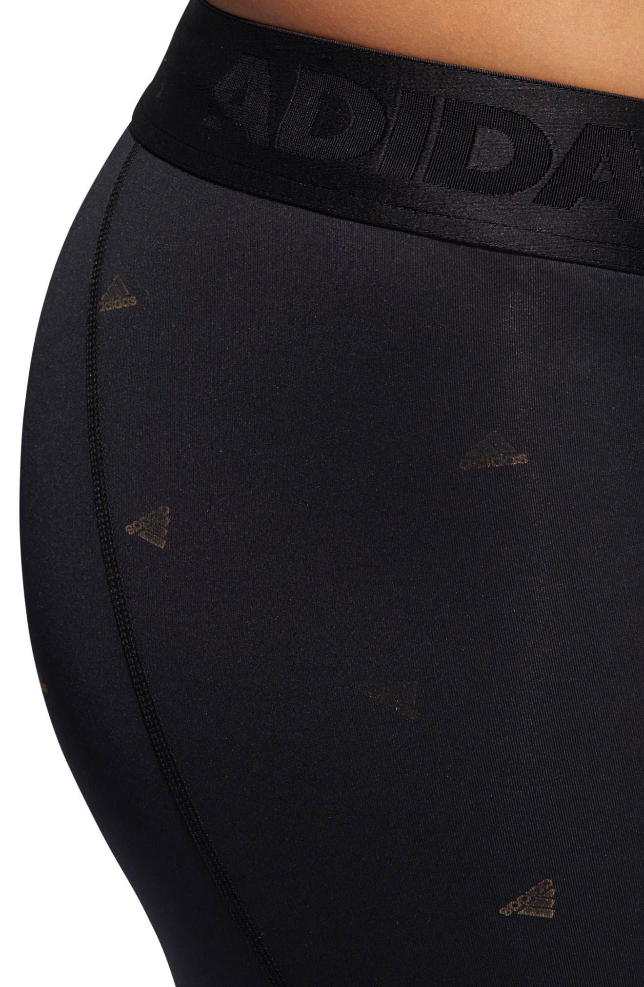 Alphaskin Sport Capri Leggings,                             Alternate thumbnail 4, color,                             Black / Print
