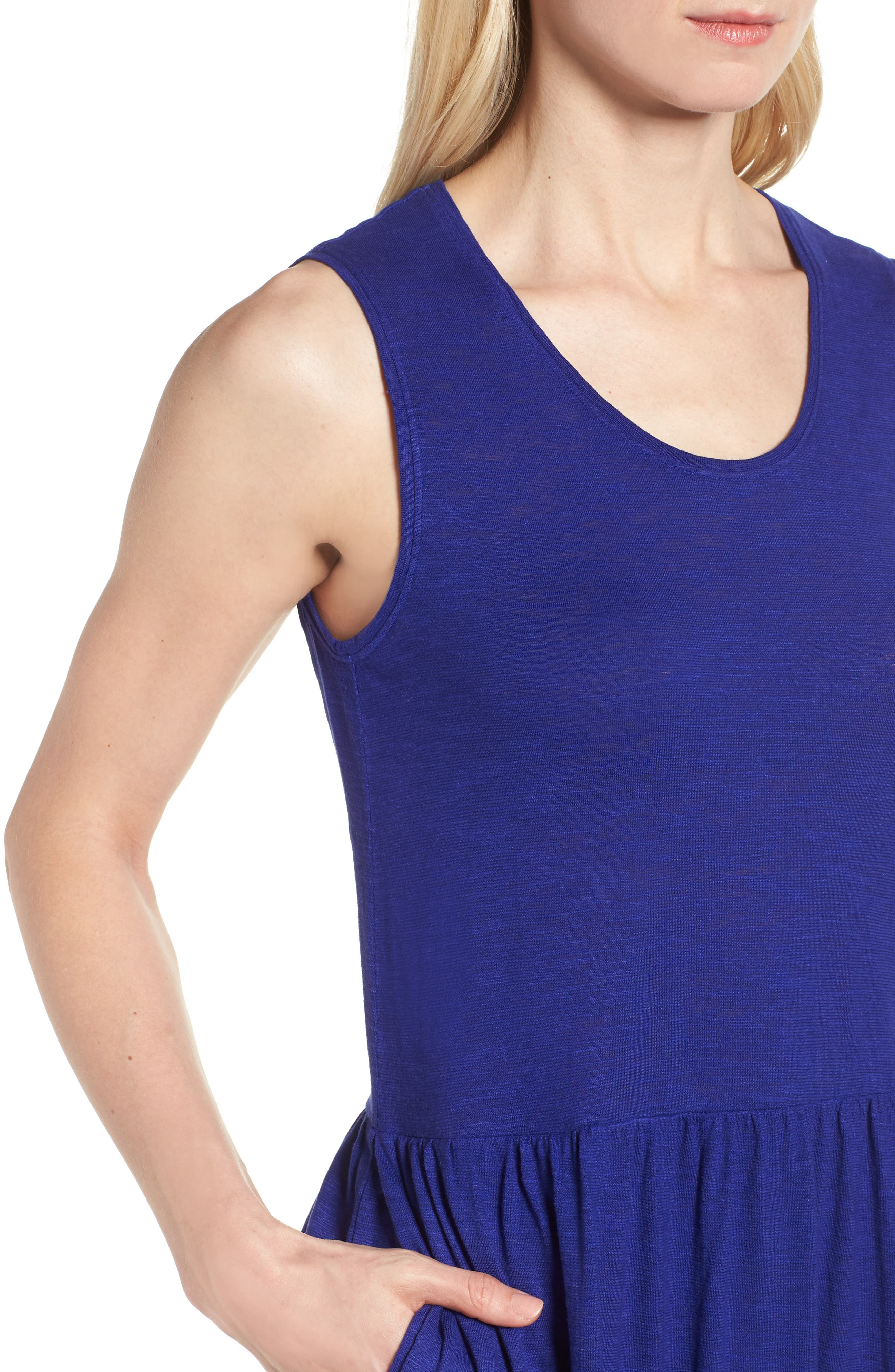 Scooped Neck Hemp & Cotton Midi Dress,                             Alternate thumbnail 4, color,                             Blue Violet