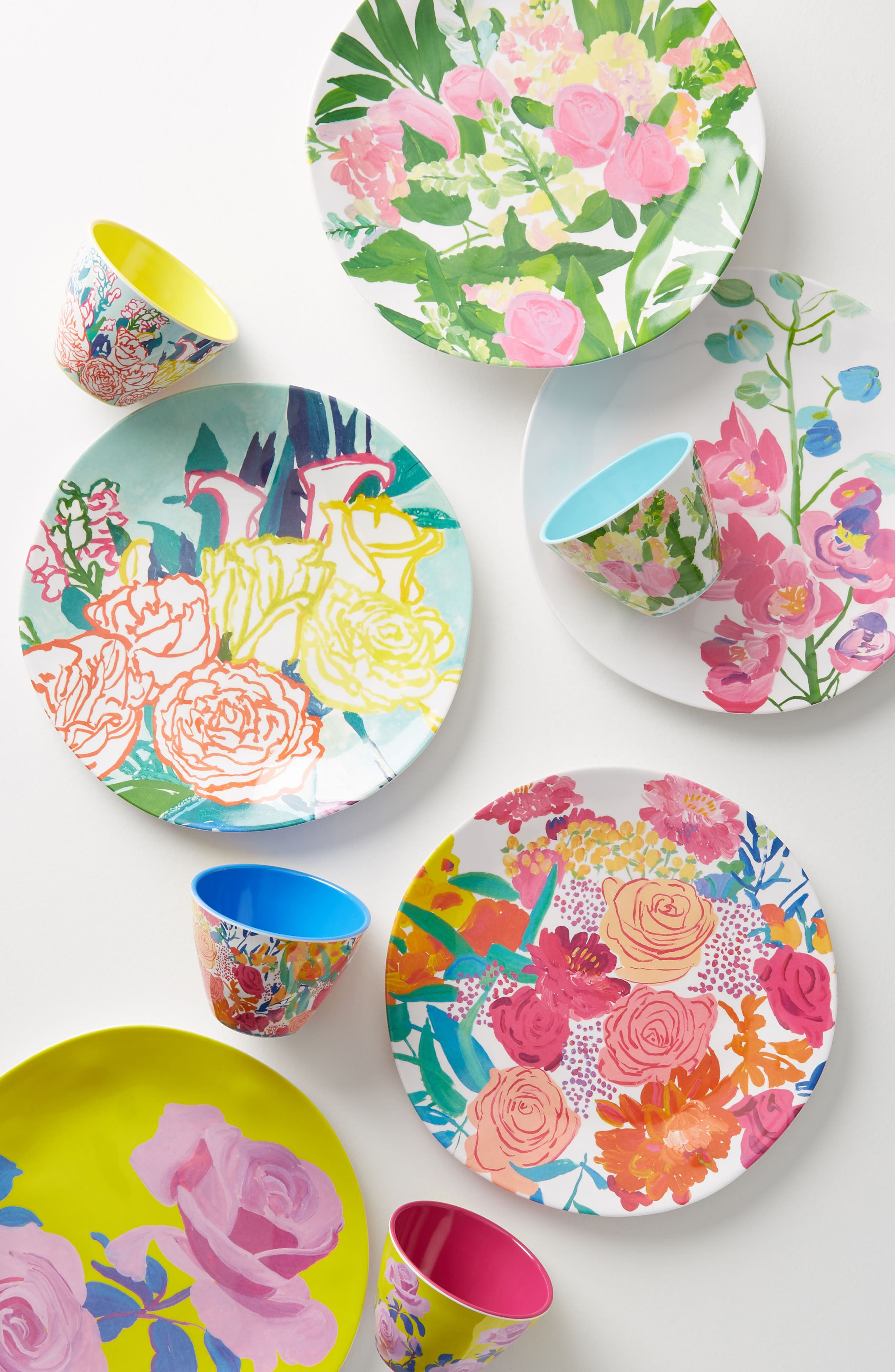 Paint + Petals Melamine Plate,                             Alternate thumbnail 3, color,                             Turquoise