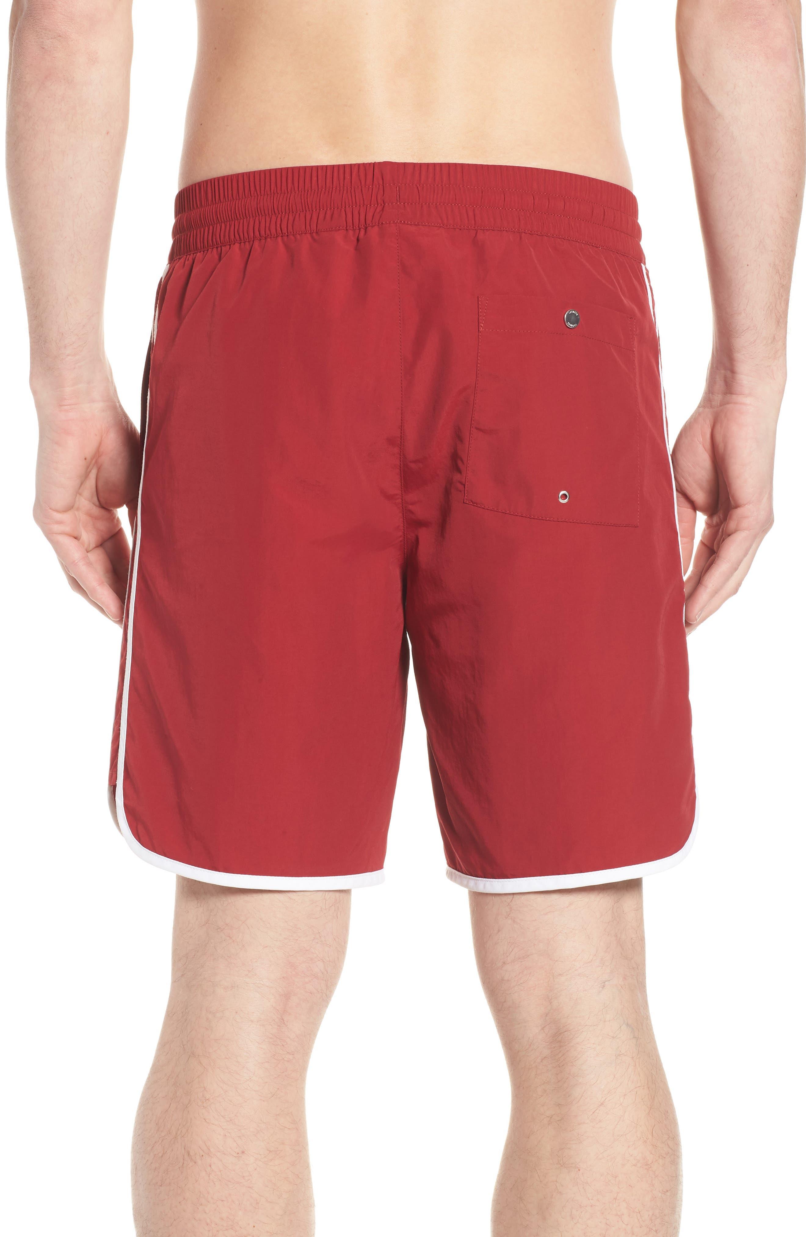 Side Stripe Swim Trunks,                             Alternate thumbnail 2, color,                             Turkey Red