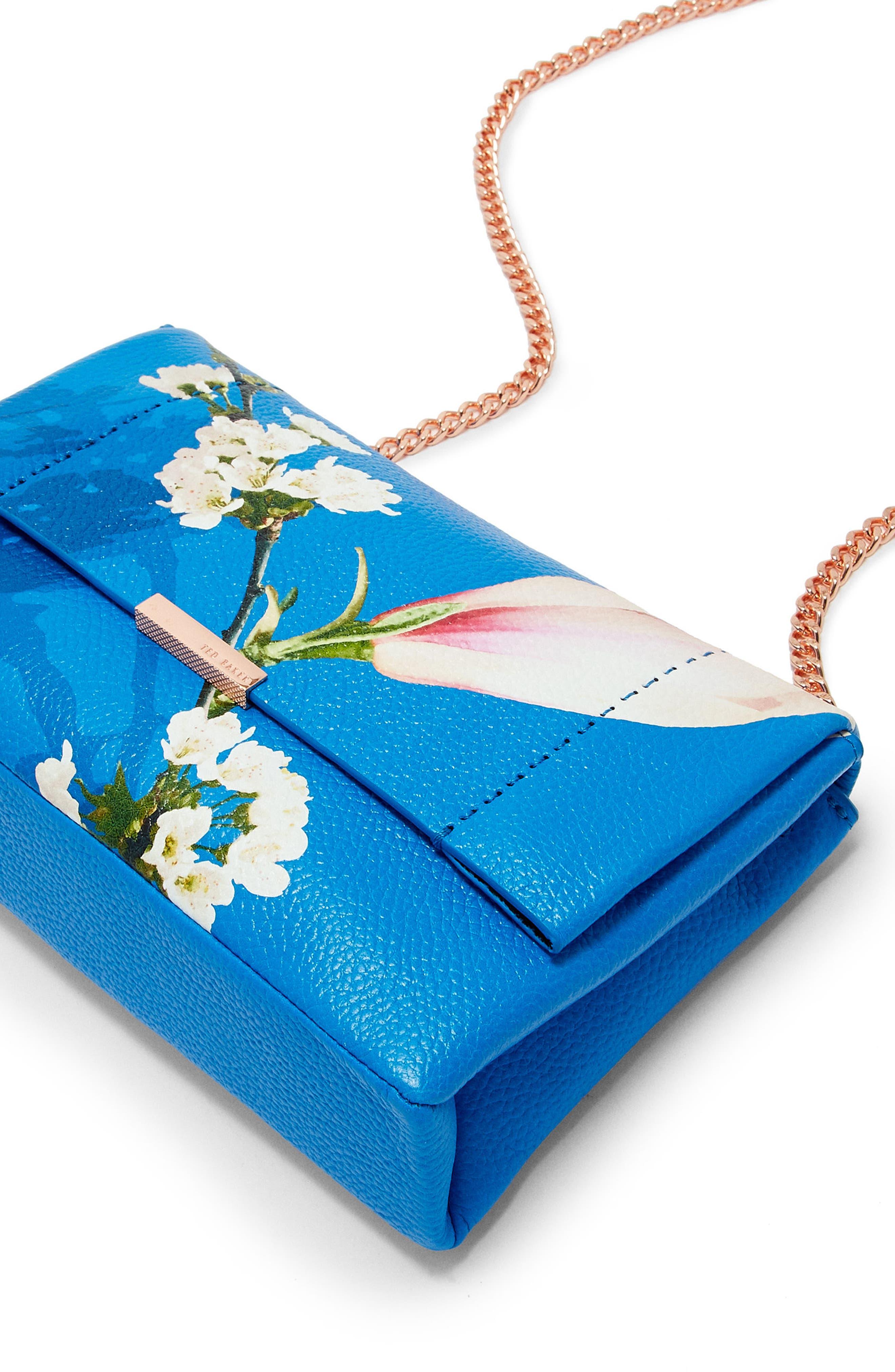 Haalle Harmony Leather Crossbody Bag,                             Alternate thumbnail 4, color,                             Bright Blue