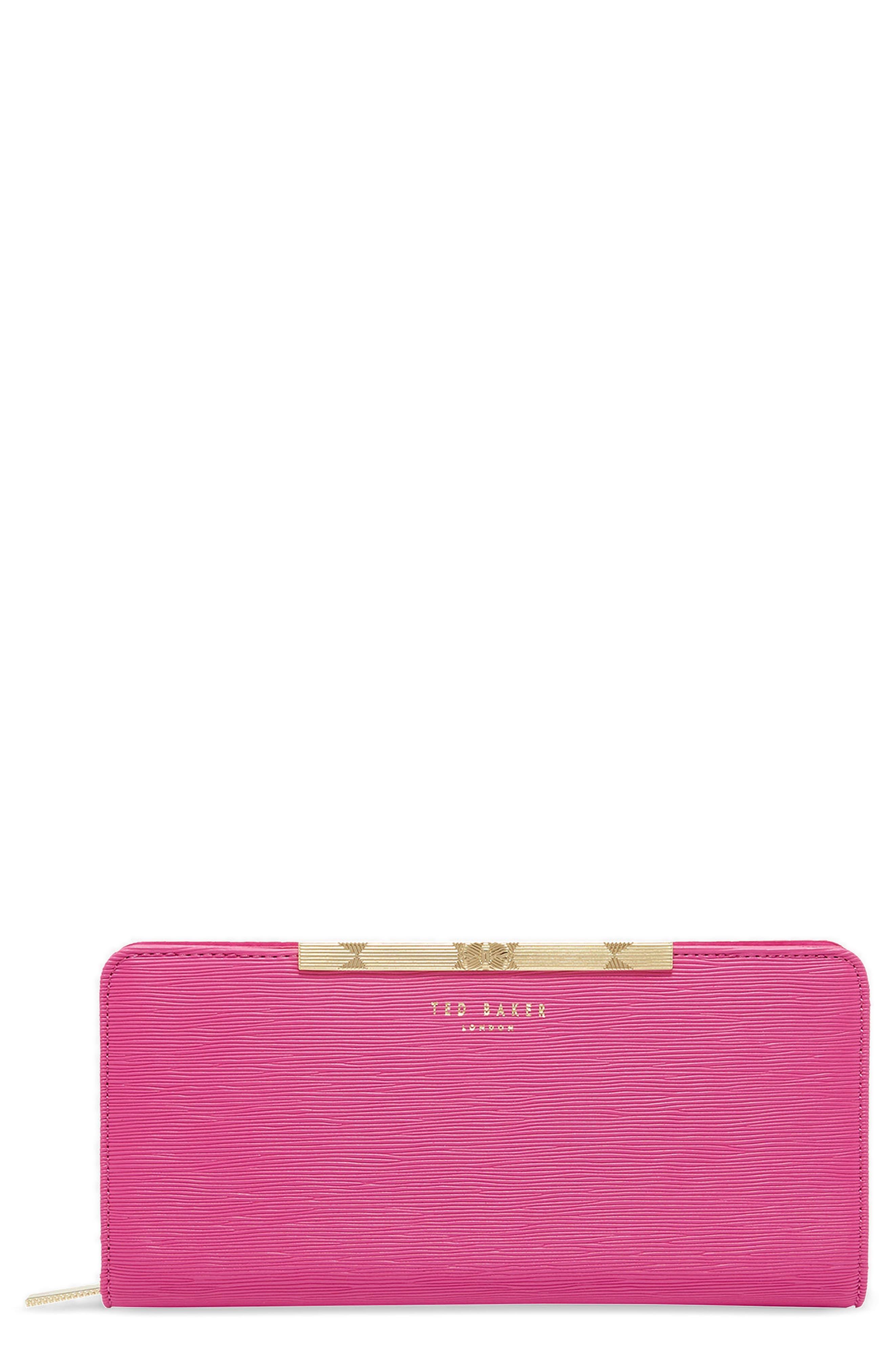 Yasmine Plissé Leather Matinée Wallet,                             Main thumbnail 1, color,                             Pink