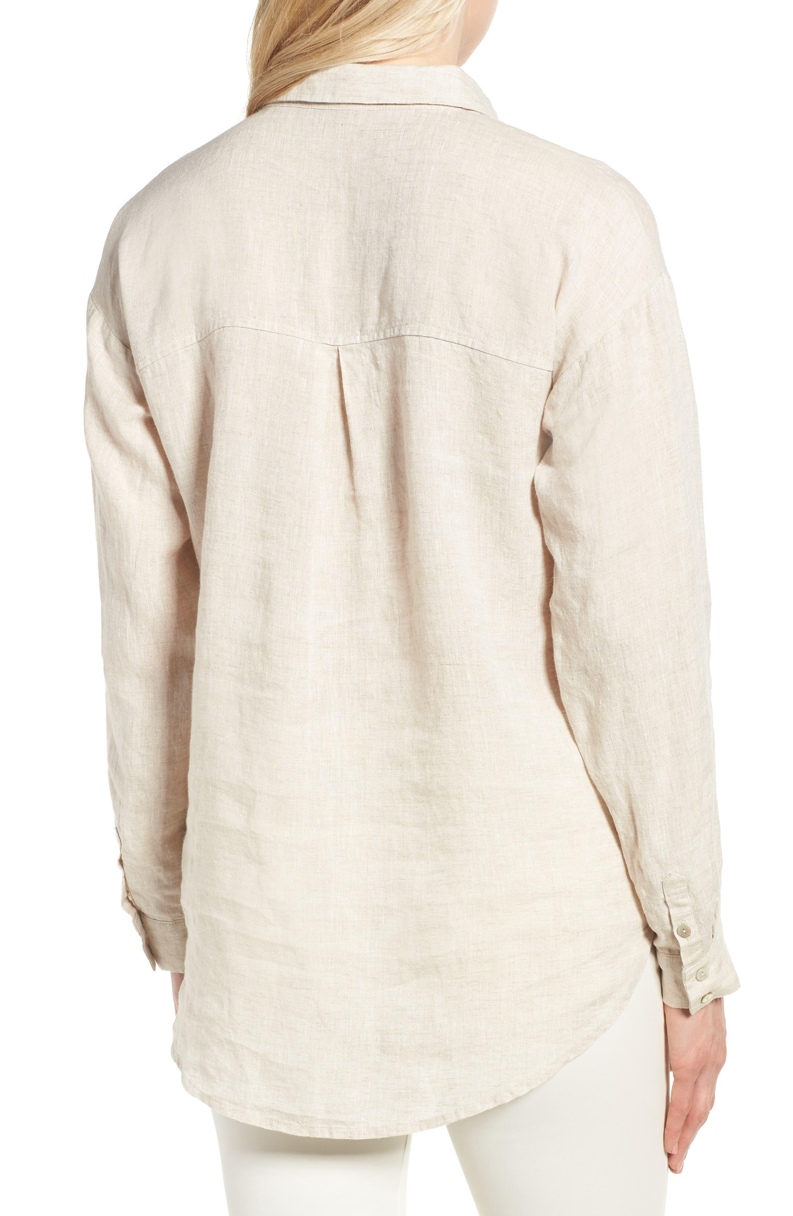 Organic Linen Shirt,                             Alternate thumbnail 2, color,                             Natural
