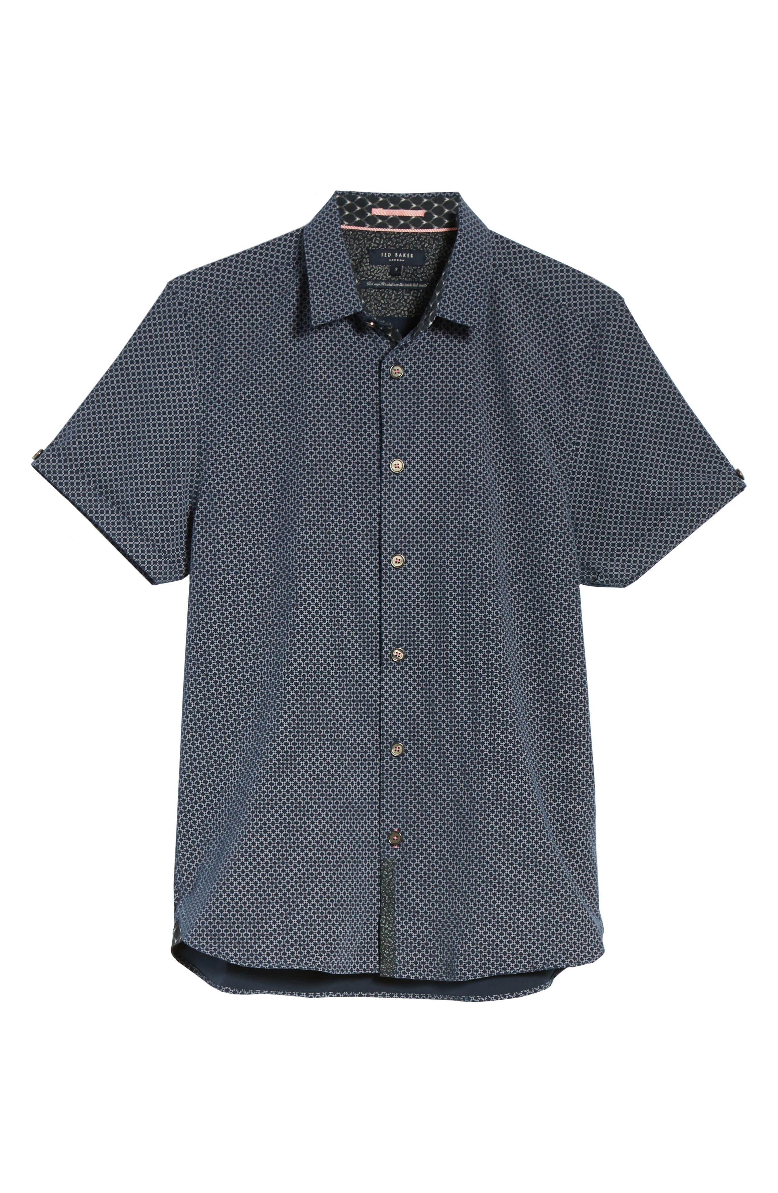 Slim Fit Short Sleeve Sport Shirt,                             Alternate thumbnail 6, color,                             Navy