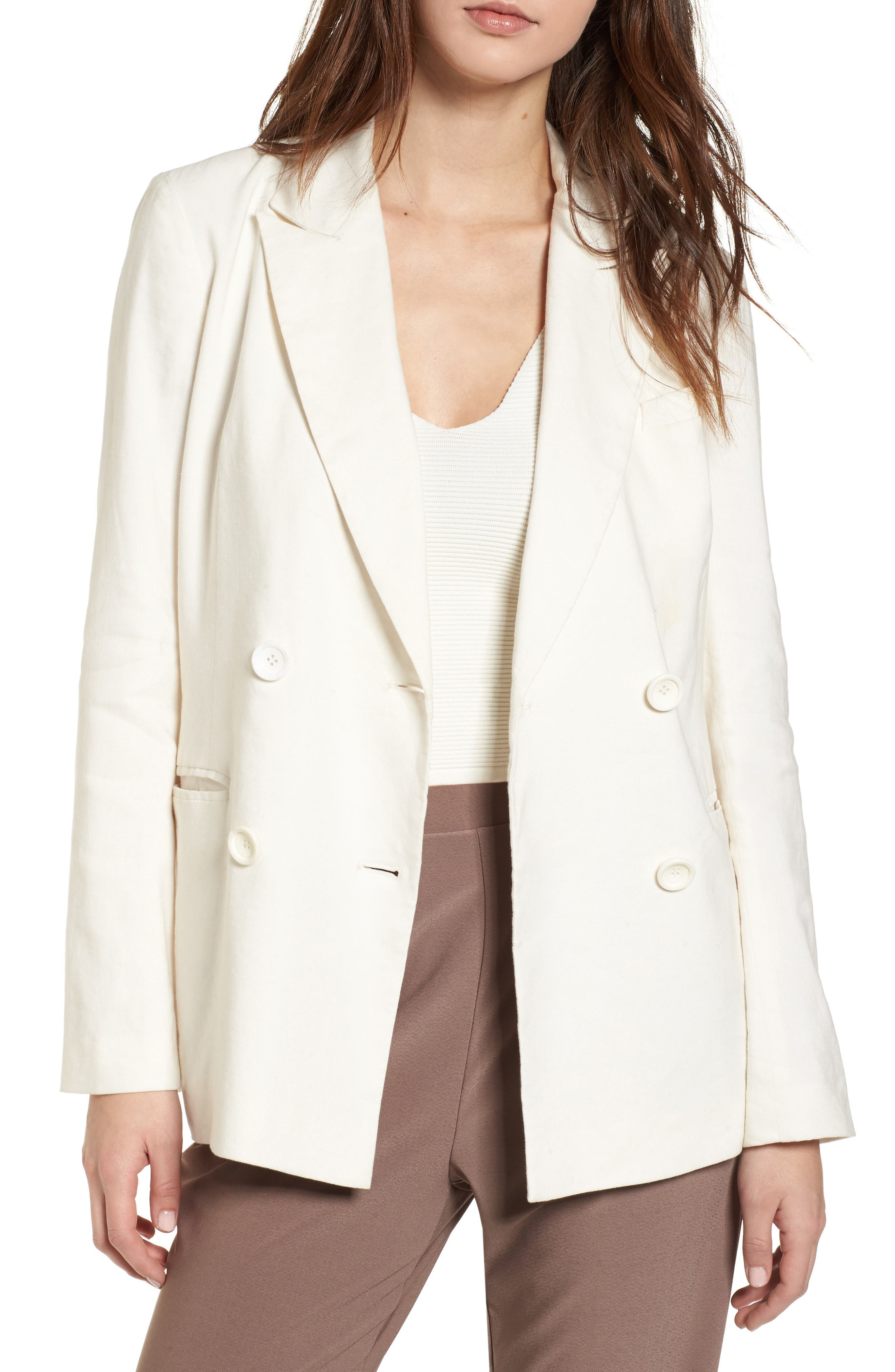 Double Breasted Linen Blend Blazer,                             Main thumbnail 1, color,                             Ivory