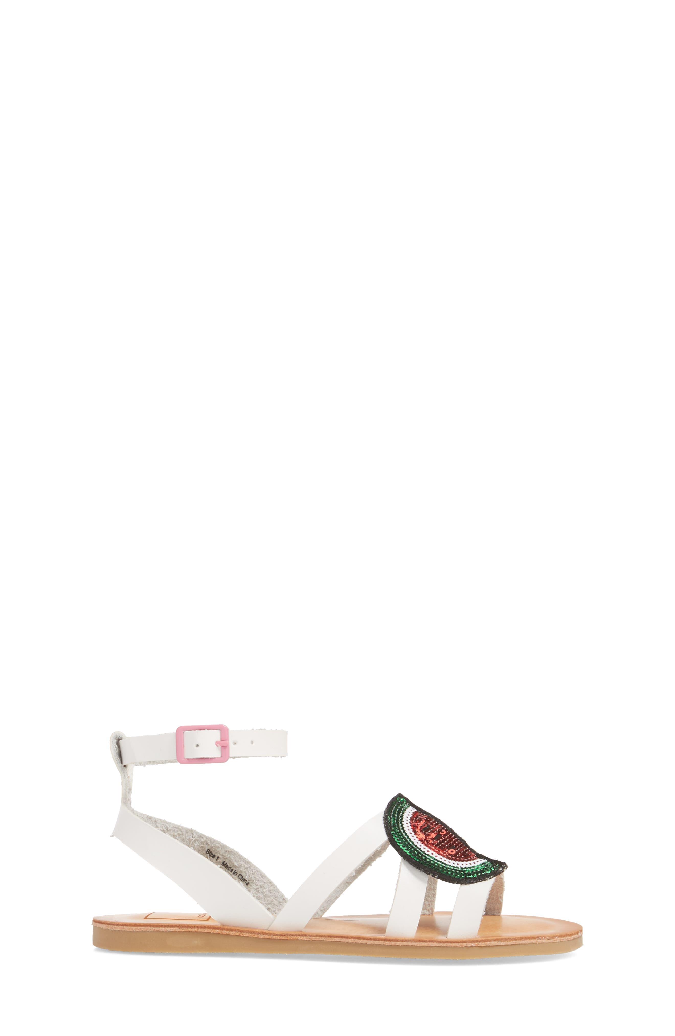 Jaclin Fruit Sequined Sandal,                             Alternate thumbnail 3, color,                             White