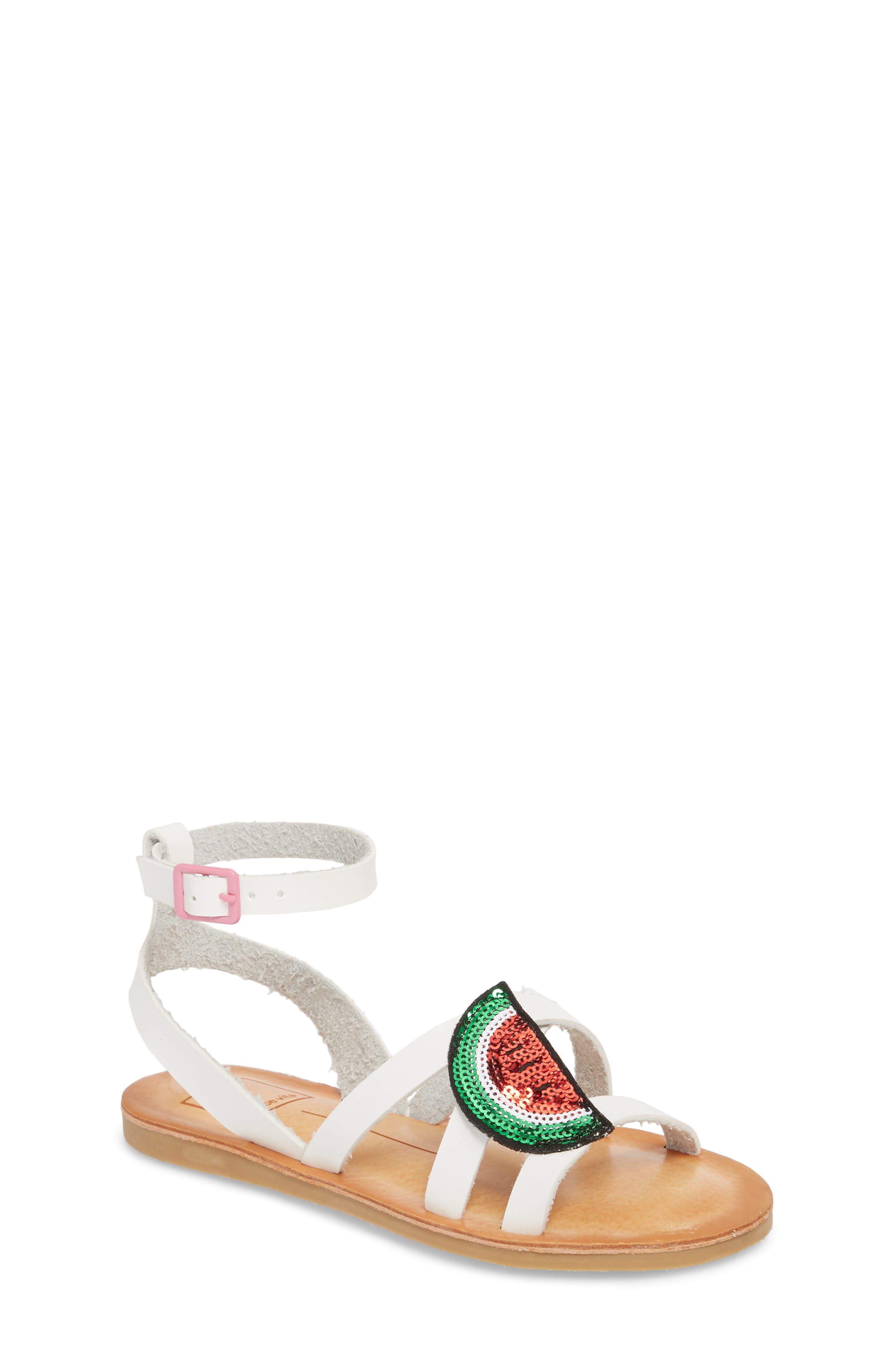 Jaclin Fruit Sequined Sandal,                             Main thumbnail 1, color,                             White