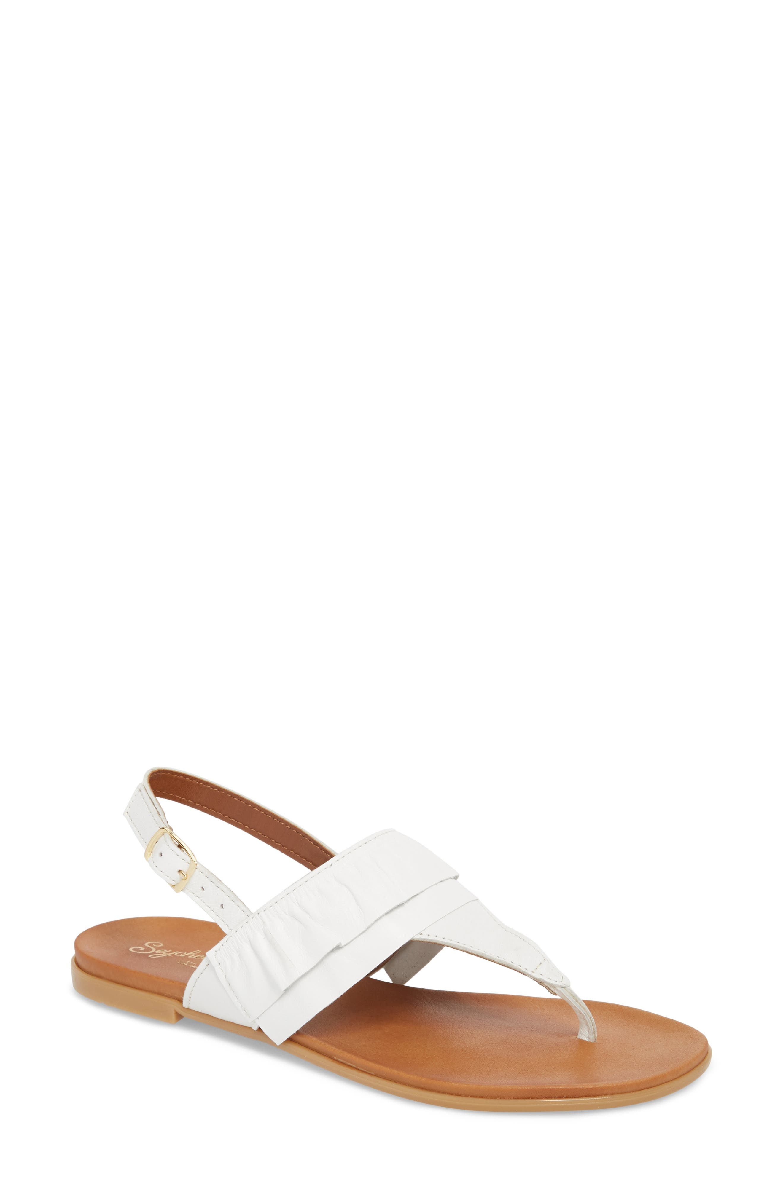 Seclusion Ruffle Sandal,                         Main,                         color, White Leather