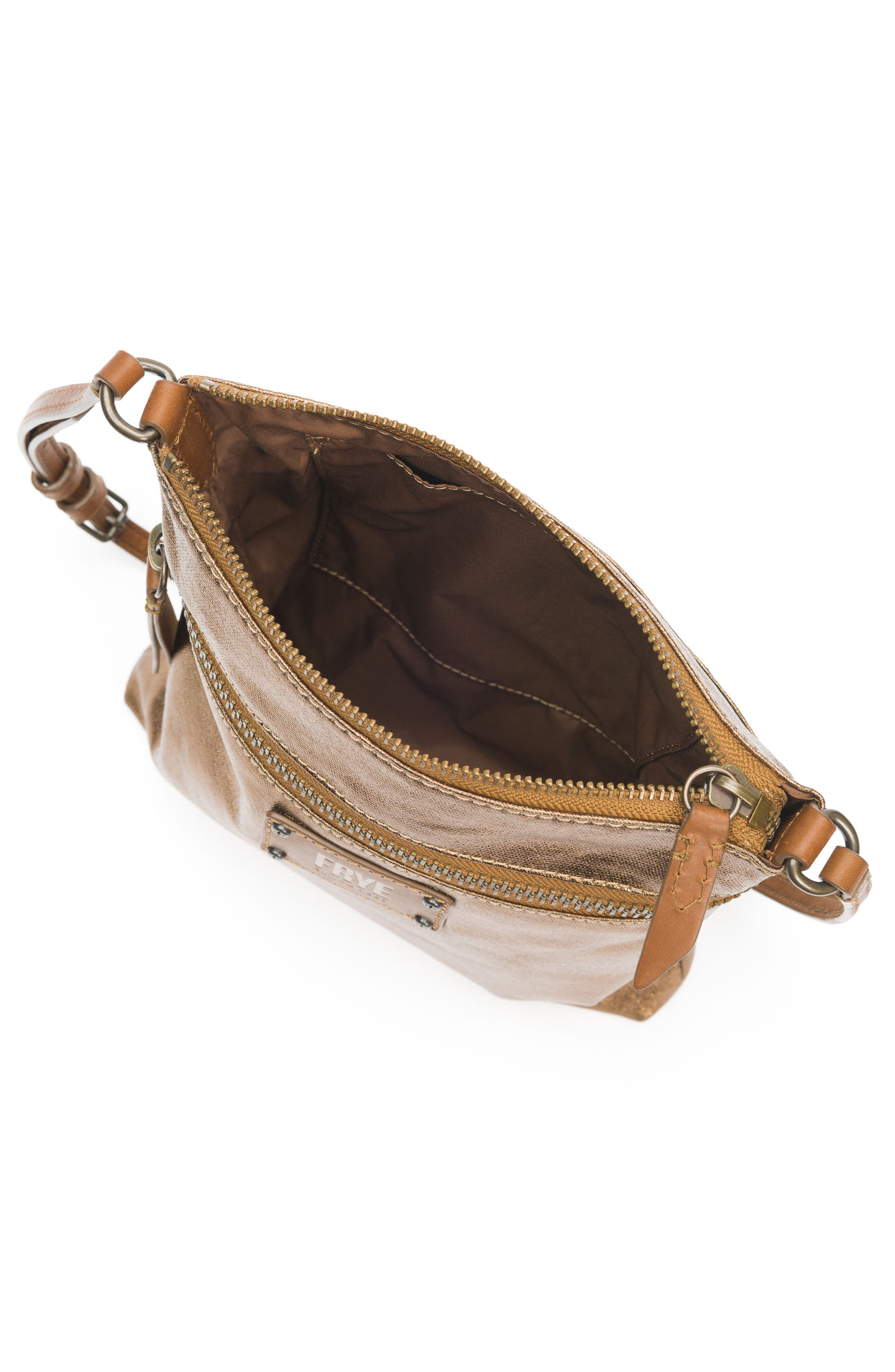 Ivy Metallic Nylon Crossbody Bag,                             Alternate thumbnail 4, color,                             Bronze