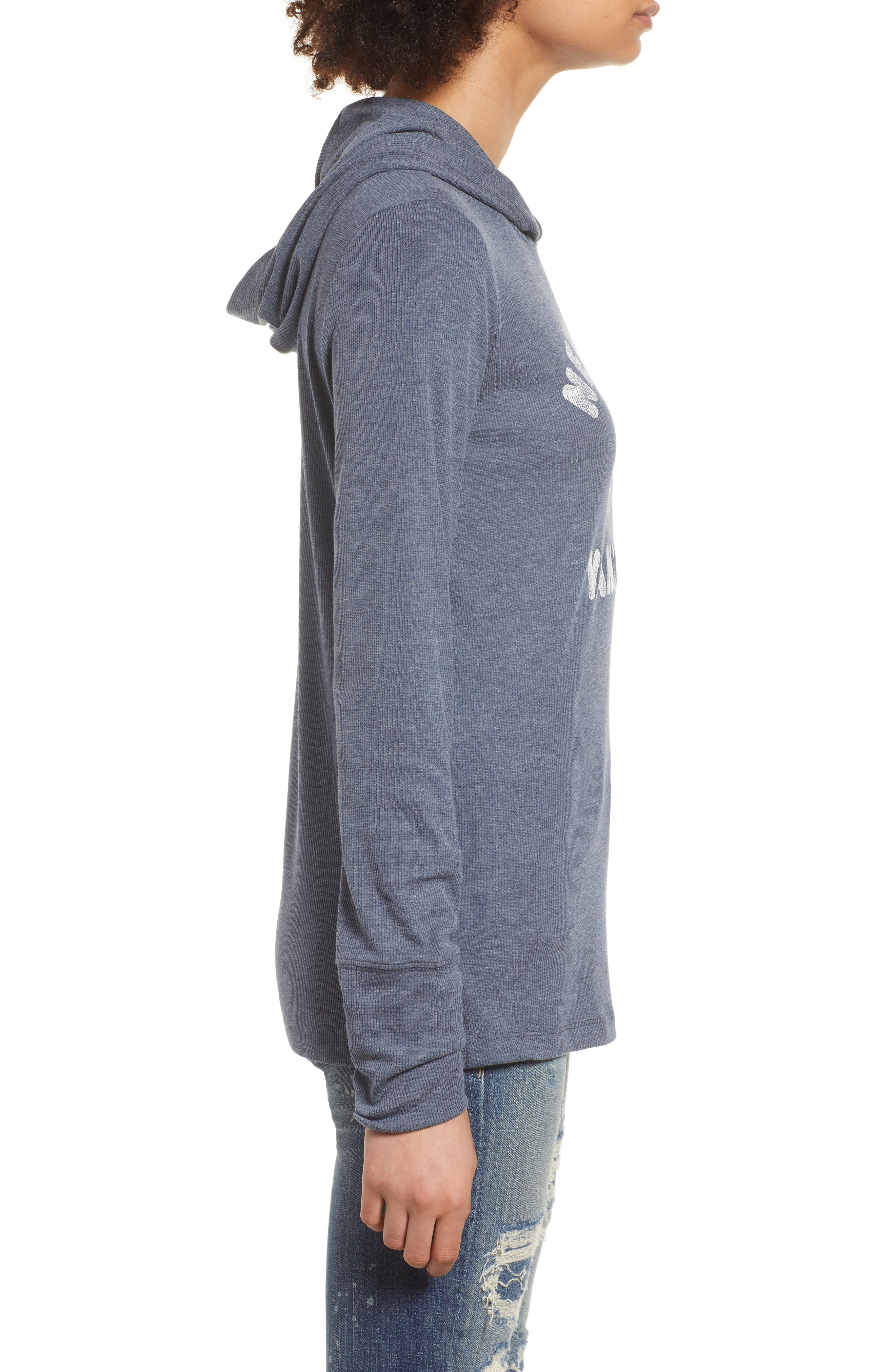 Campbell New York Yankees Rib Knit Hooded Top,                             Alternate thumbnail 3, color,                             Midnight