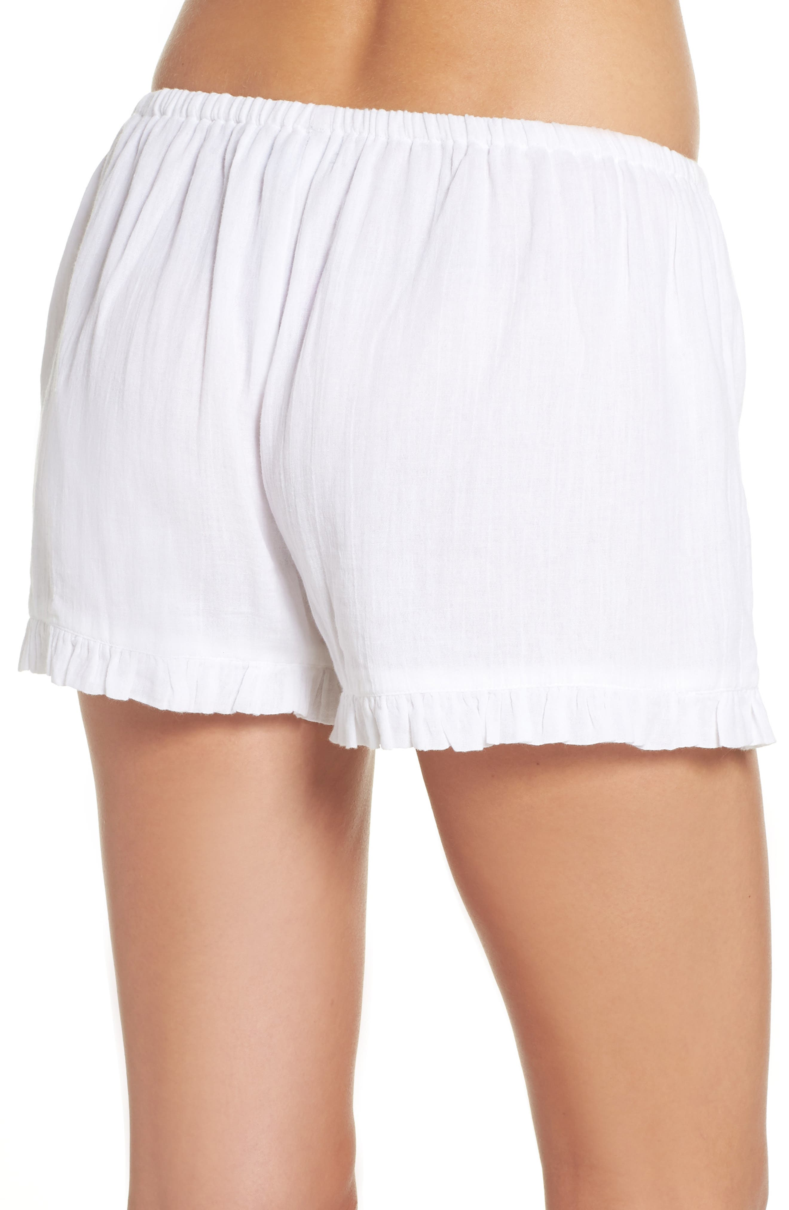 Cambria Ruffle Sleep Shorts,                             Alternate thumbnail 2, color,                             White