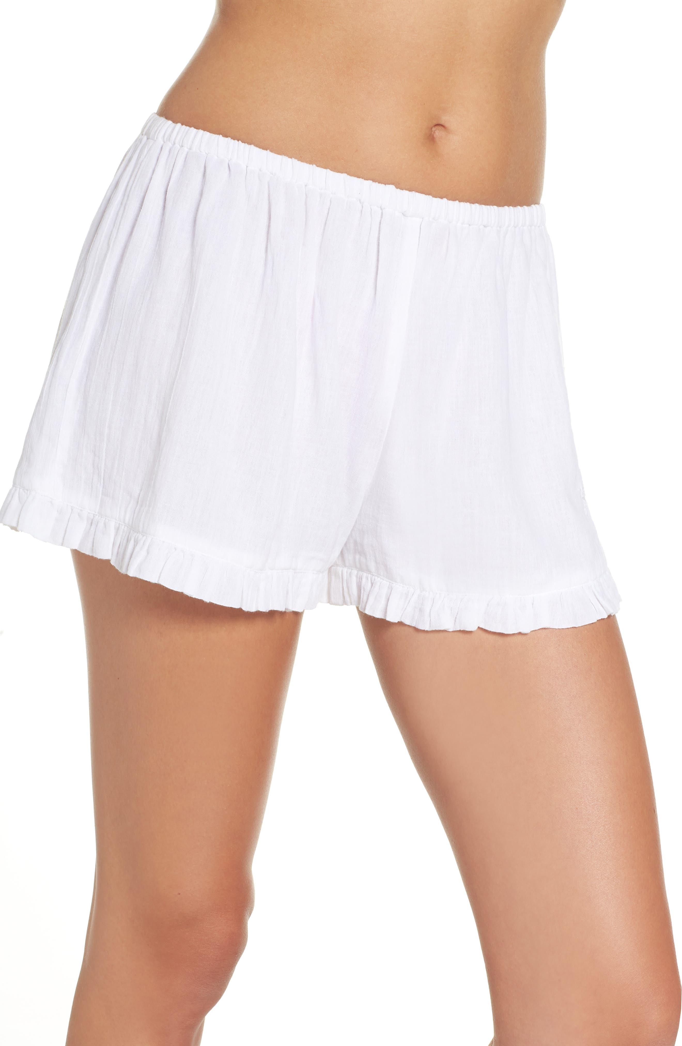 Cambria Ruffle Sleep Shorts,                             Main thumbnail 1, color,                             White