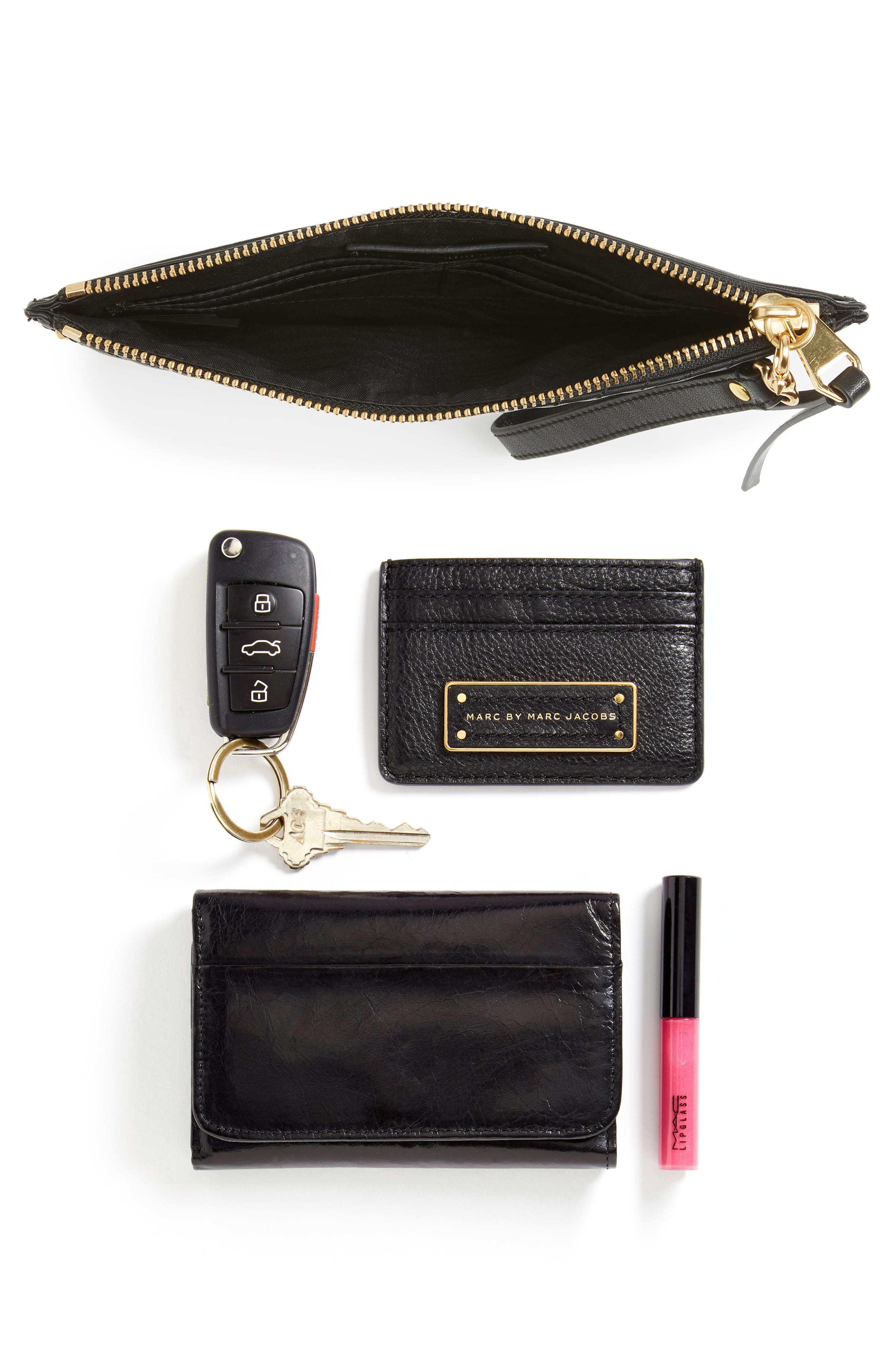 Quilted Leather Wristlet Pouch,                             Alternate thumbnail 7, color,