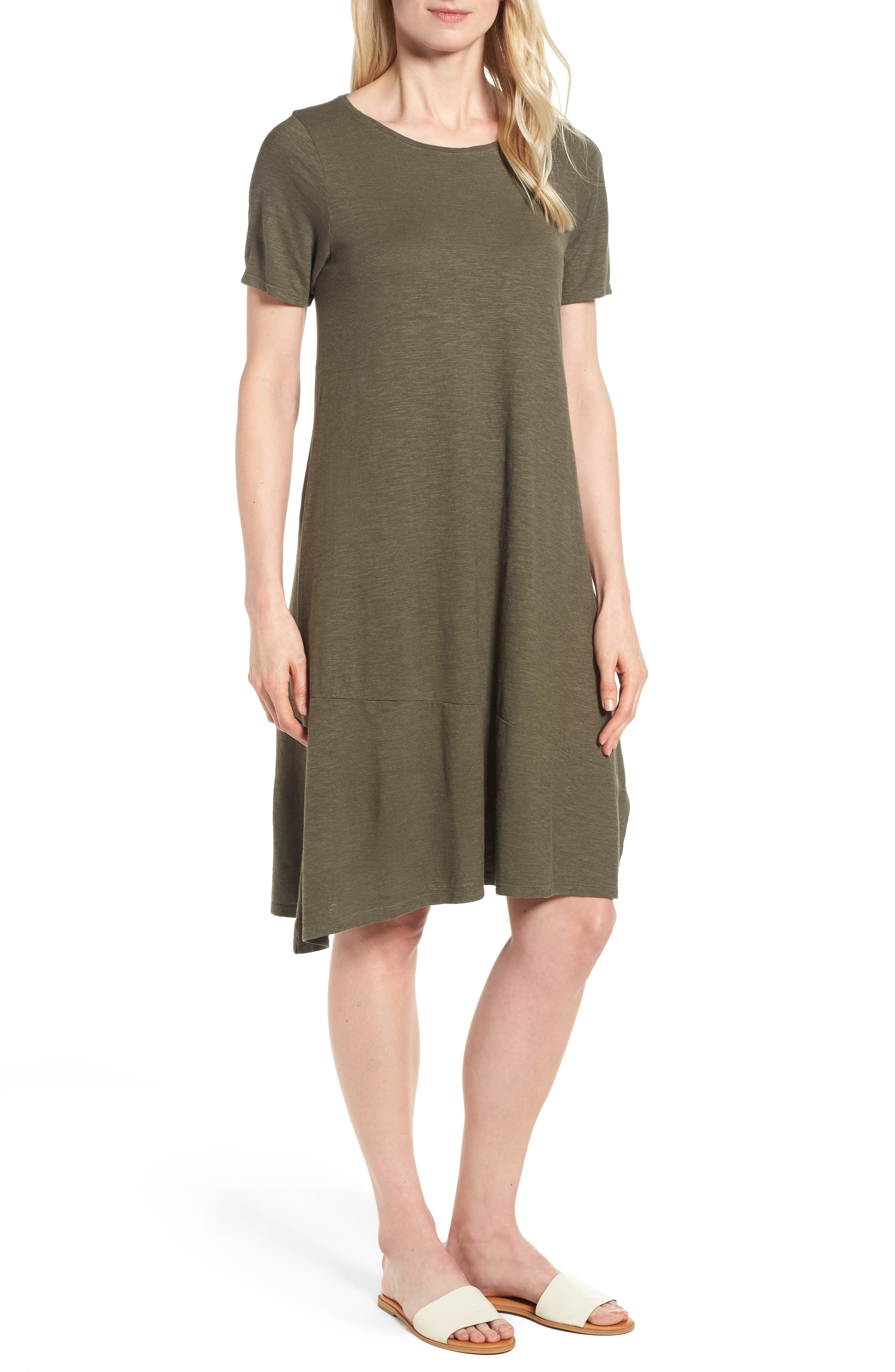 Eileen Fisher Asymmetrical Hemp Blend Shift Dress