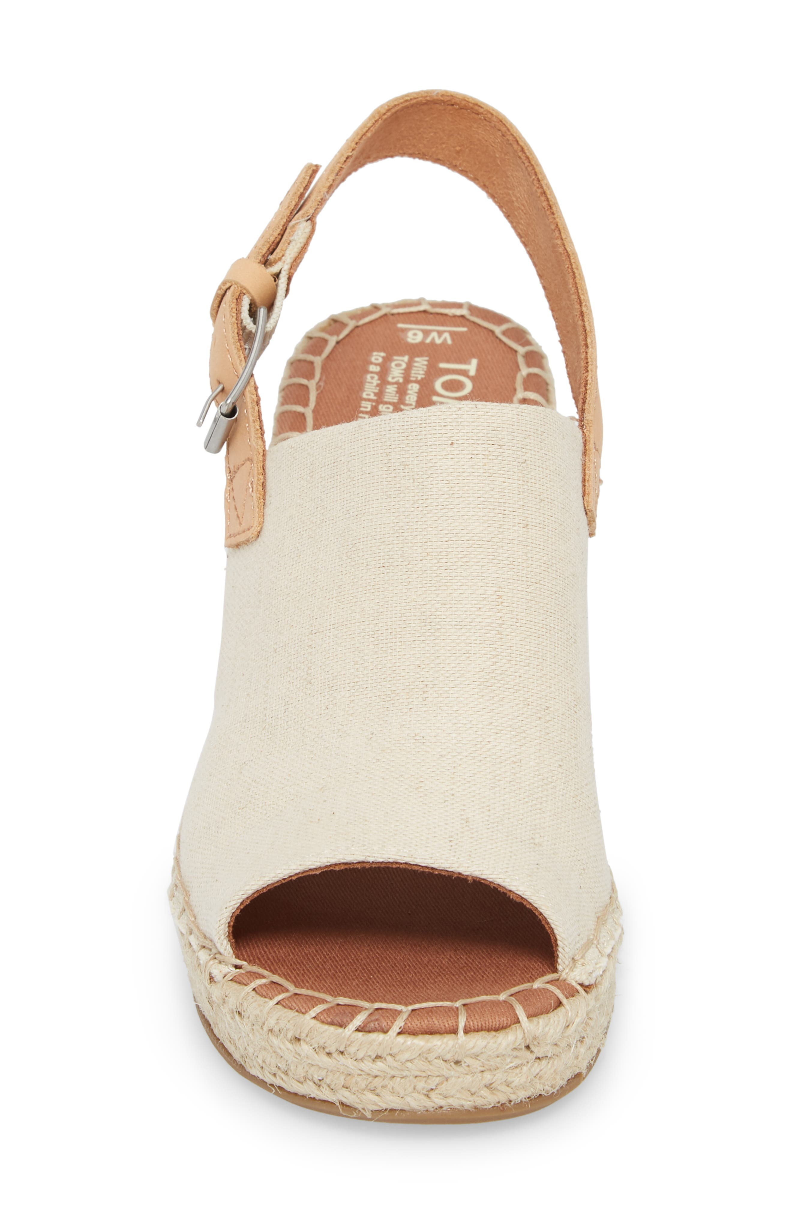 Monica Slingback Wedge,                             Alternate thumbnail 4, color,                             Natural Hemp/ Leather