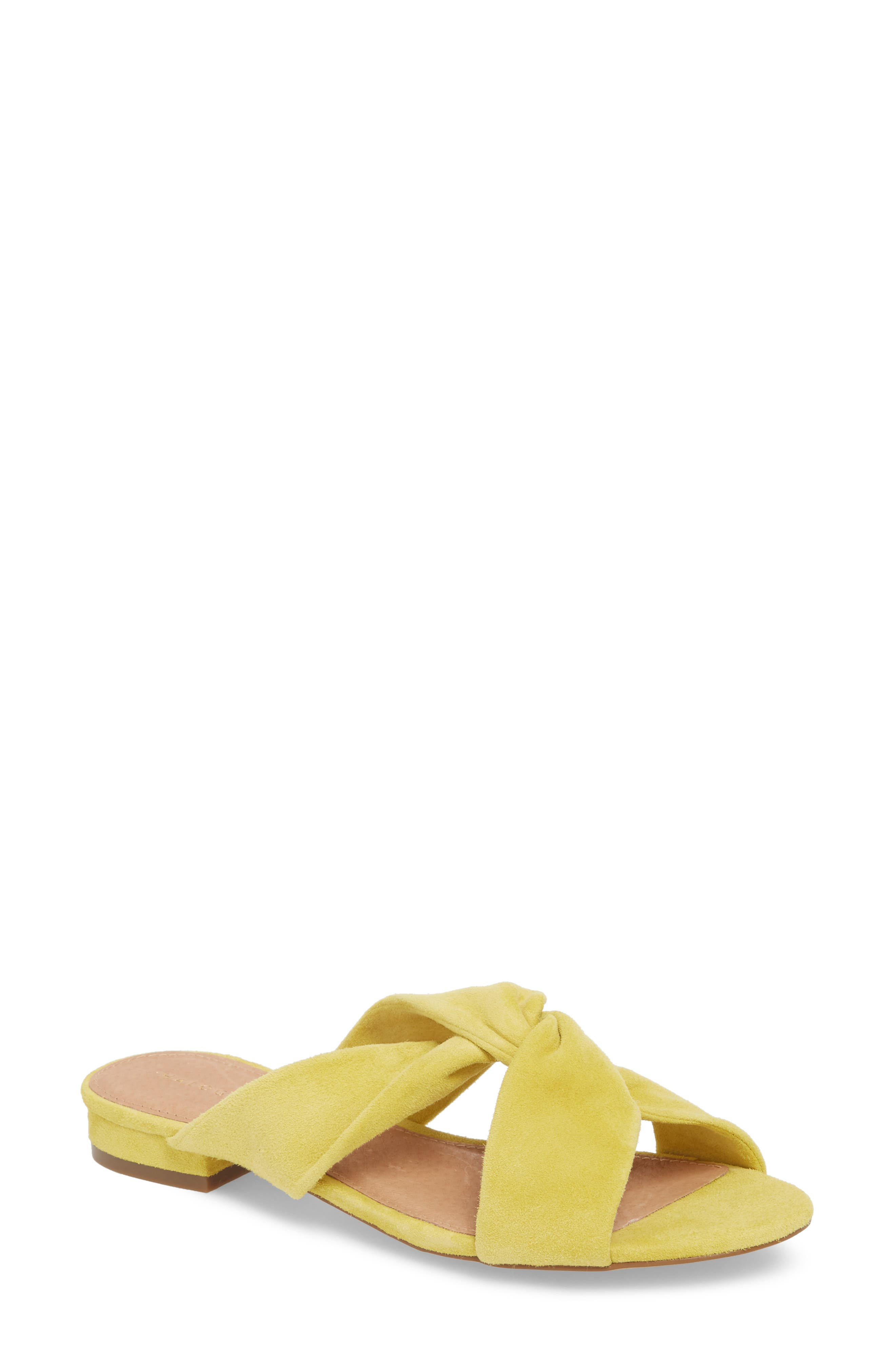 Andre Slide Sandal,                         Main,                         color, Mustard Suede