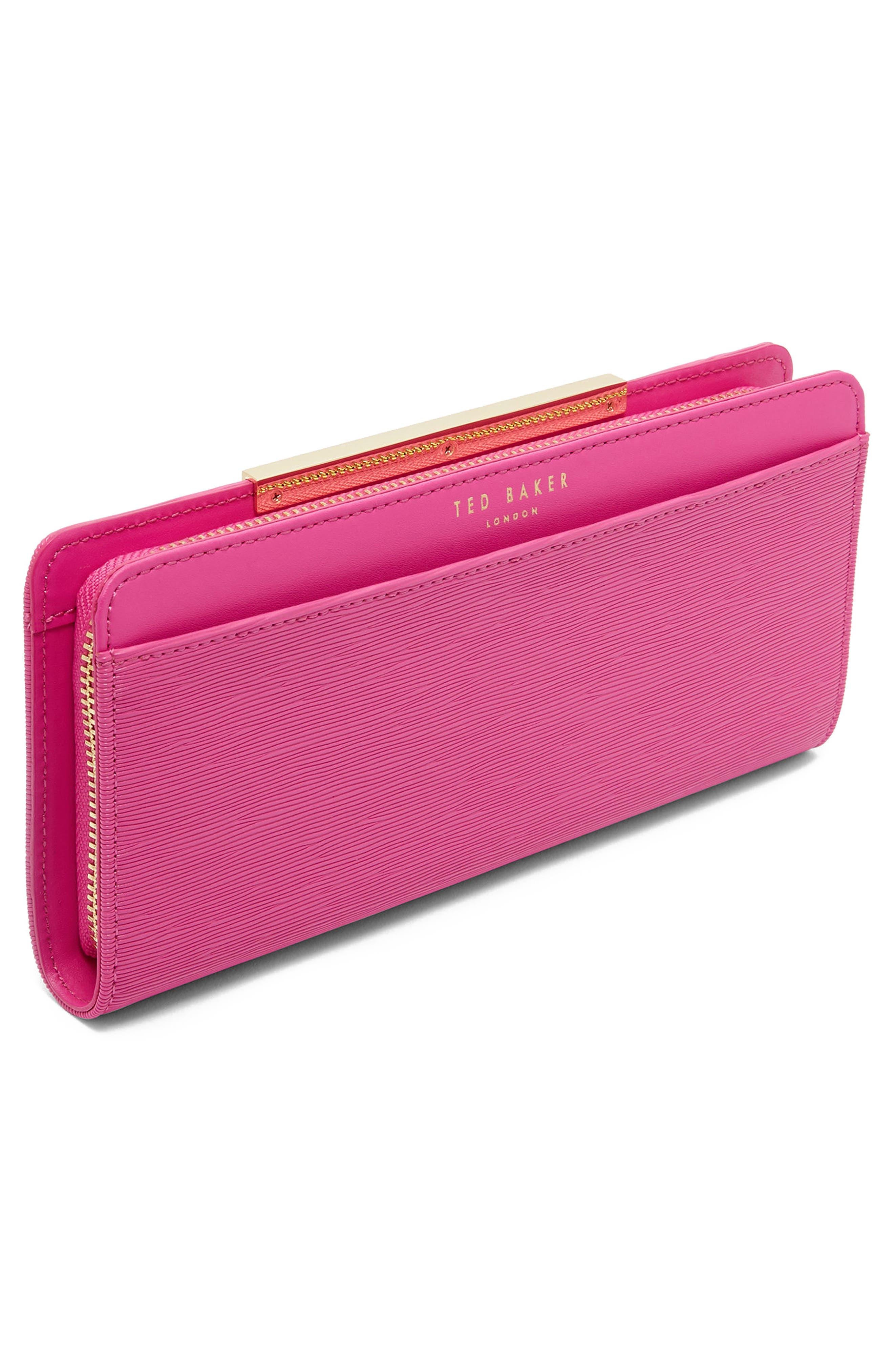 Yasmine Plissé Leather Matinée Wallet,                             Alternate thumbnail 3, color,                             Pink