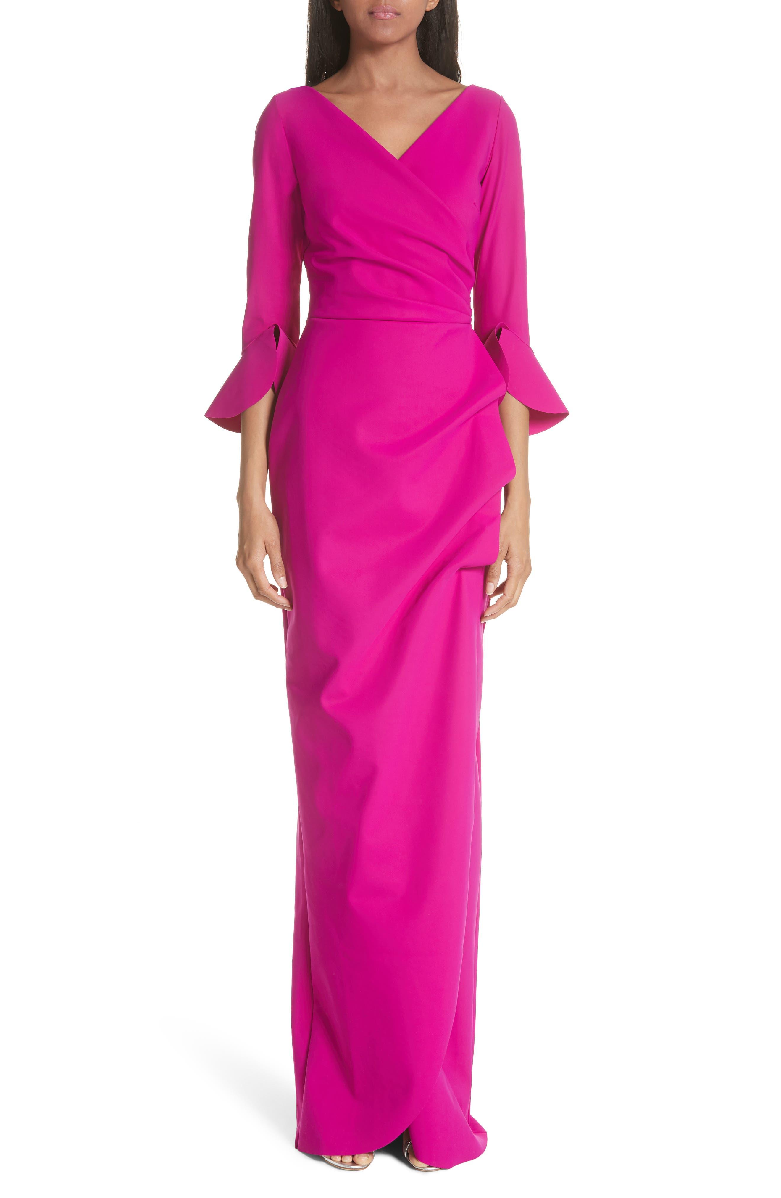 Ruffle Cuff Side Drape Gown,                         Main,                         color, Cyclamen