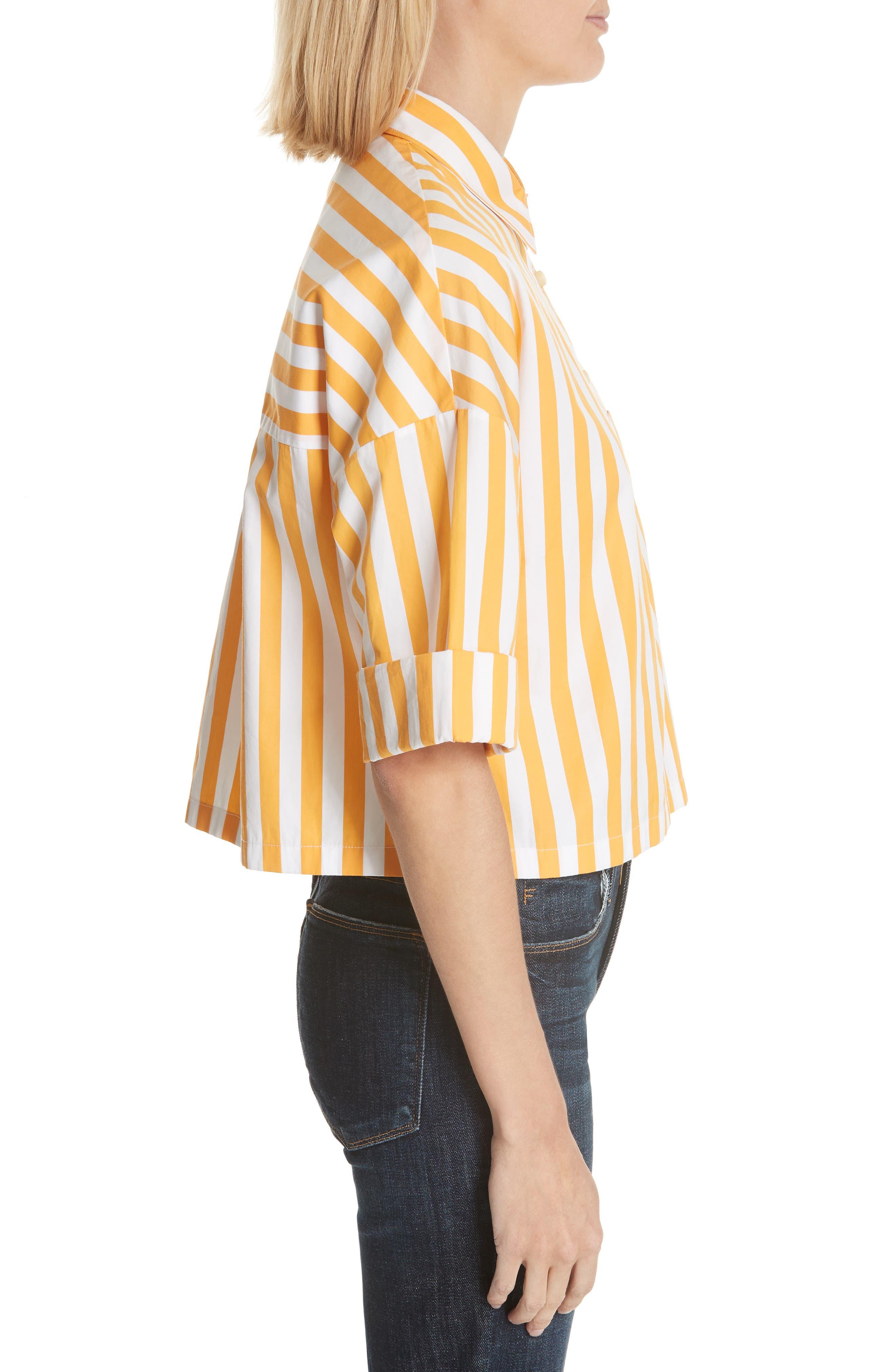 The Keaton Stripe Crop Shirt,                             Alternate thumbnail 3, color,                             White/ Marigold