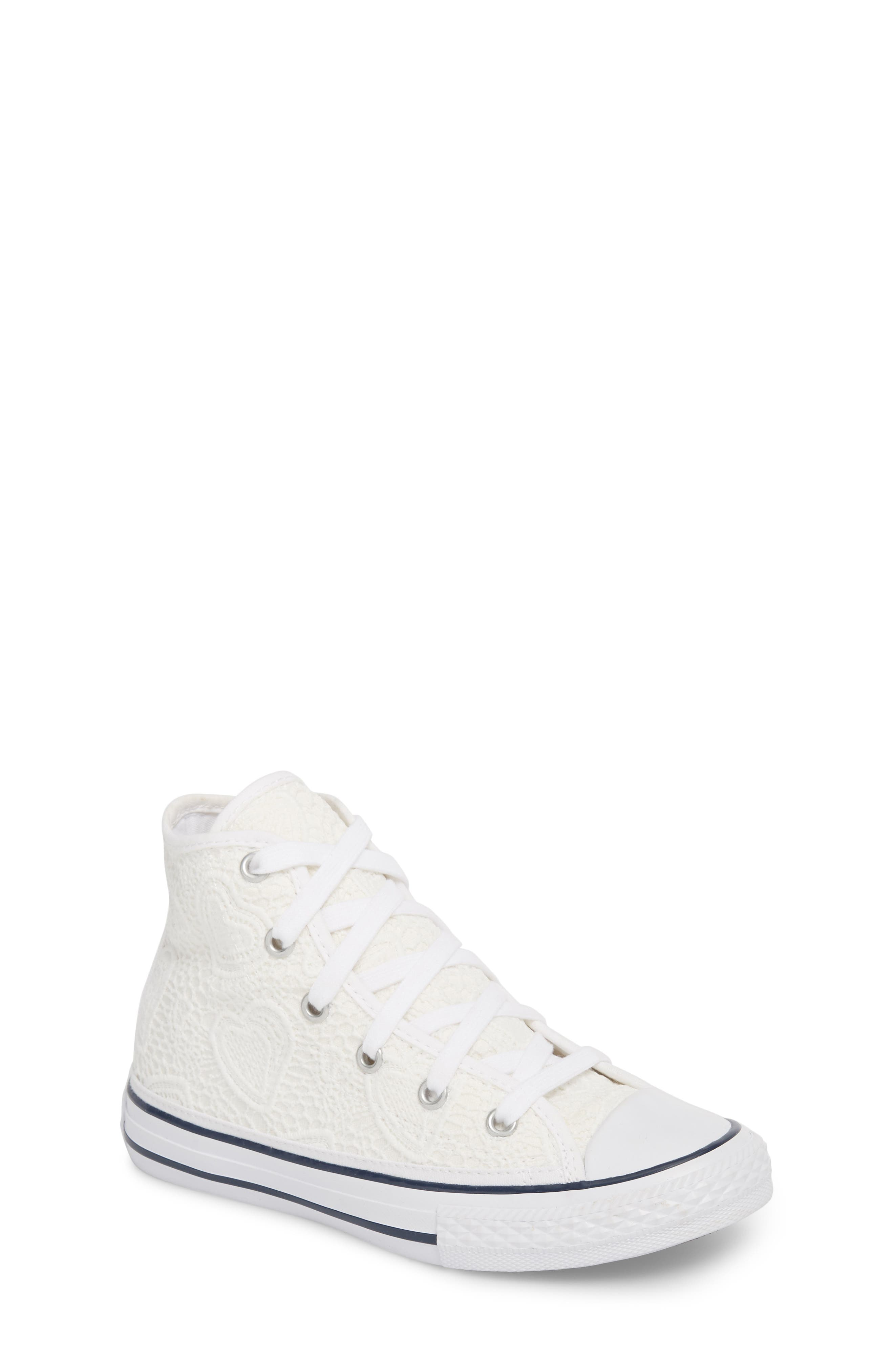 Chuck Taylor<sup>®</sup> All Star<sup>®</sup> Crochet High Top Sneaker,                             Main thumbnail 1, color,                             White