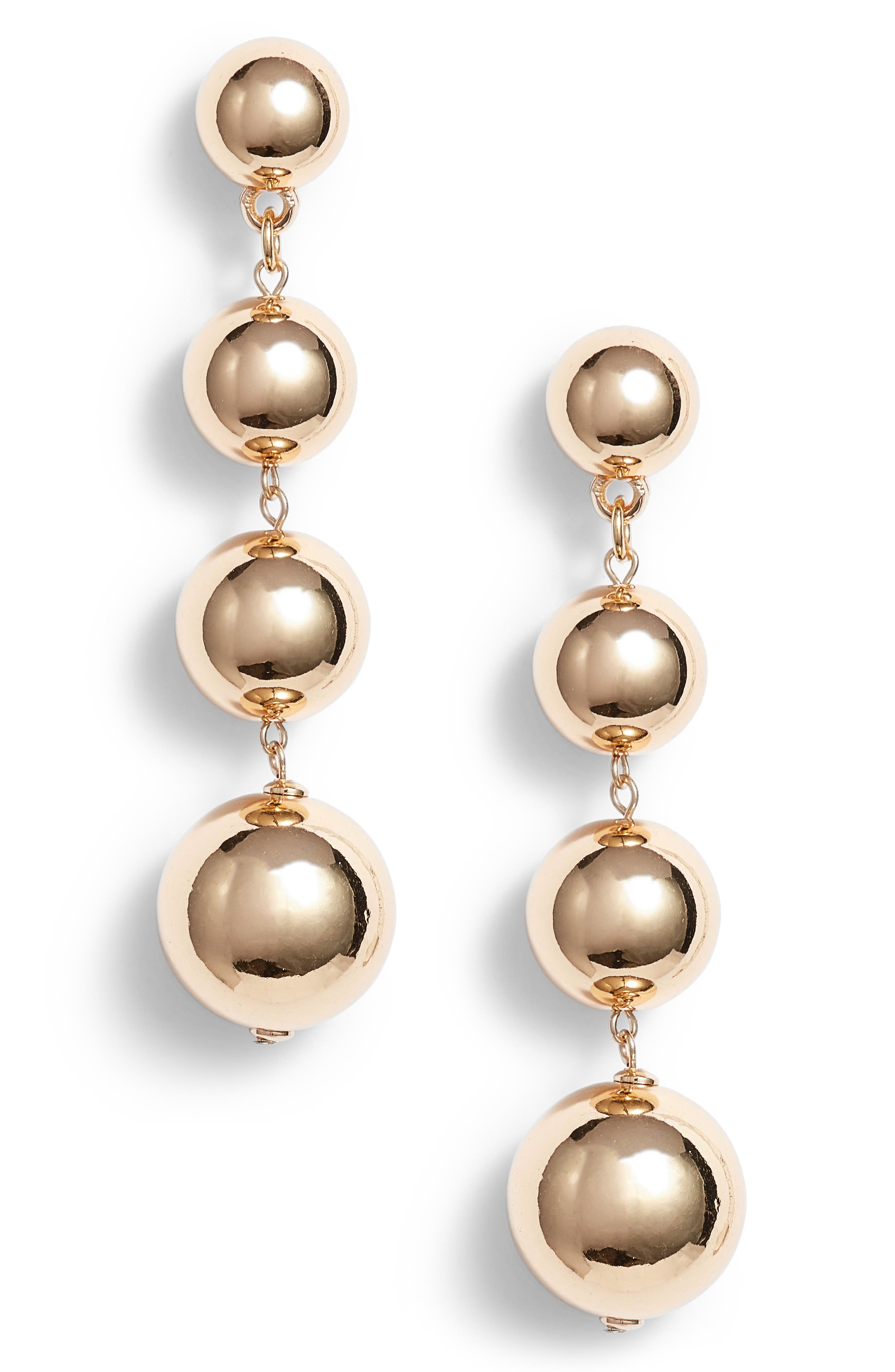 Tasha Metal Ball Drop Earrings