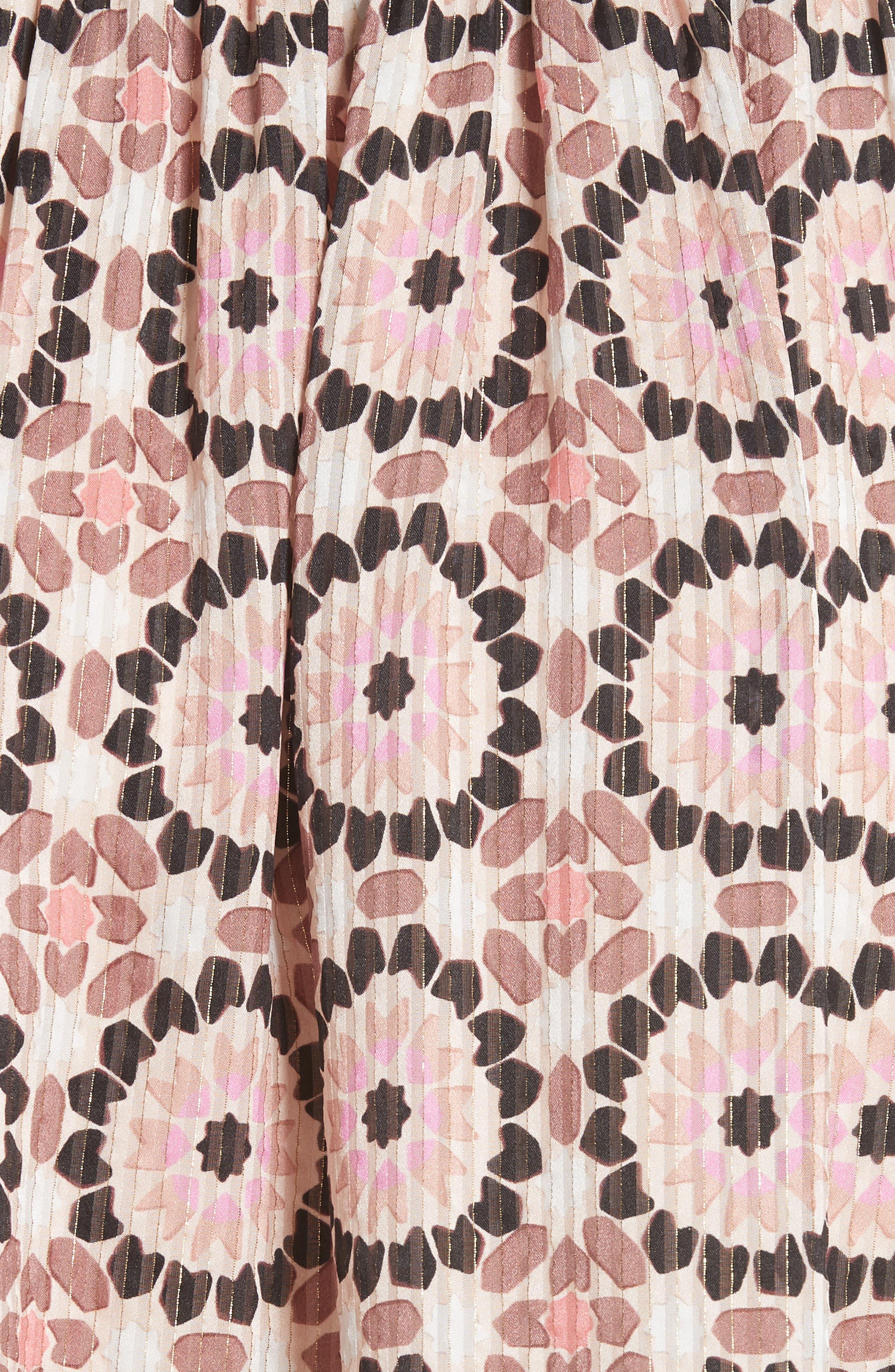 floral mosaic silk blend skirt,                             Alternate thumbnail 5, color,                             Pearl Pink Multi