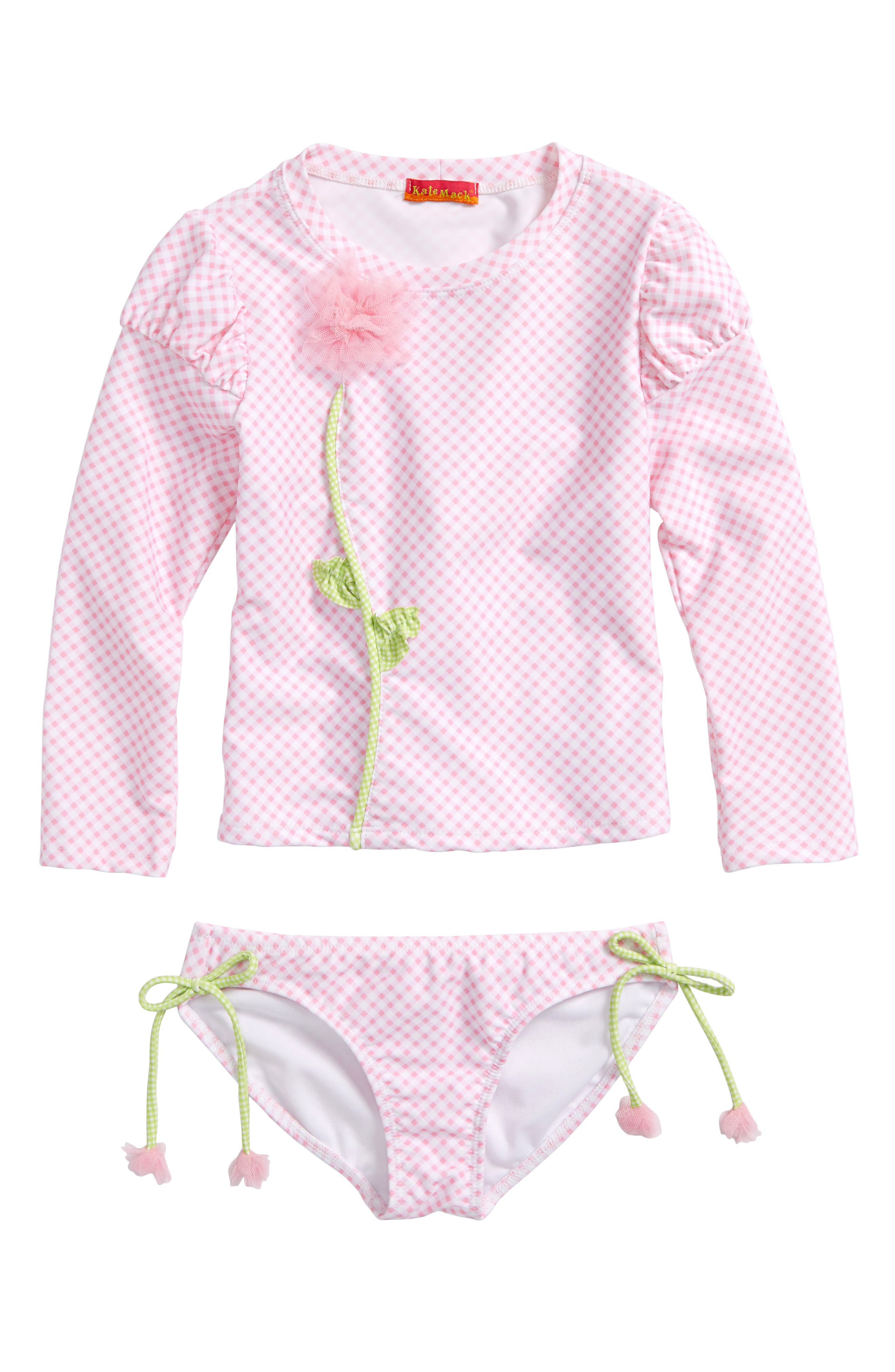 Gingham Two-Piece Rashguard Swimsuit,                         Main,                         color, Pink