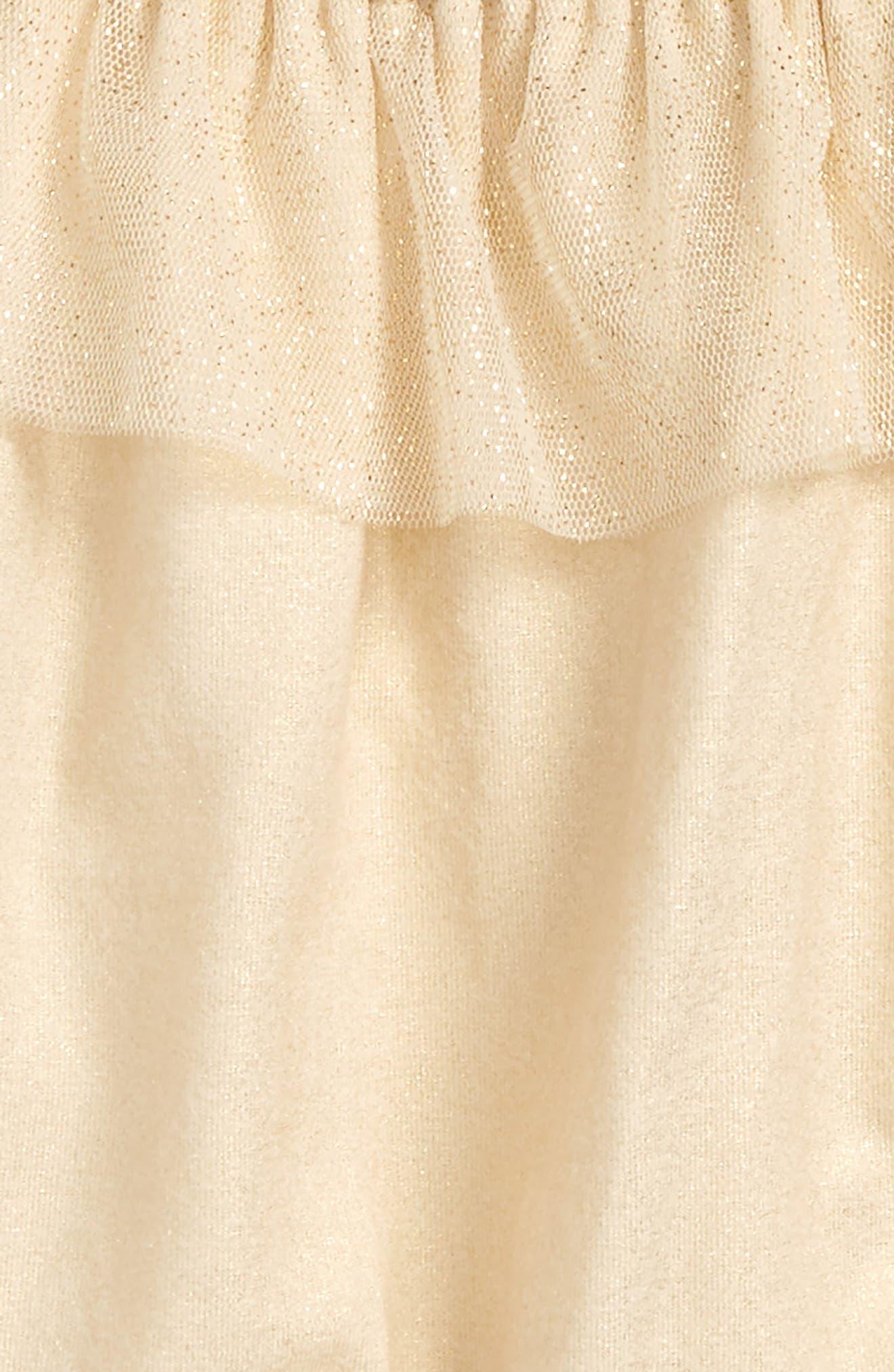 Glitter Tulle Ruffle Cold Shoulder Romper,                             Alternate thumbnail 2, color,                             Gold