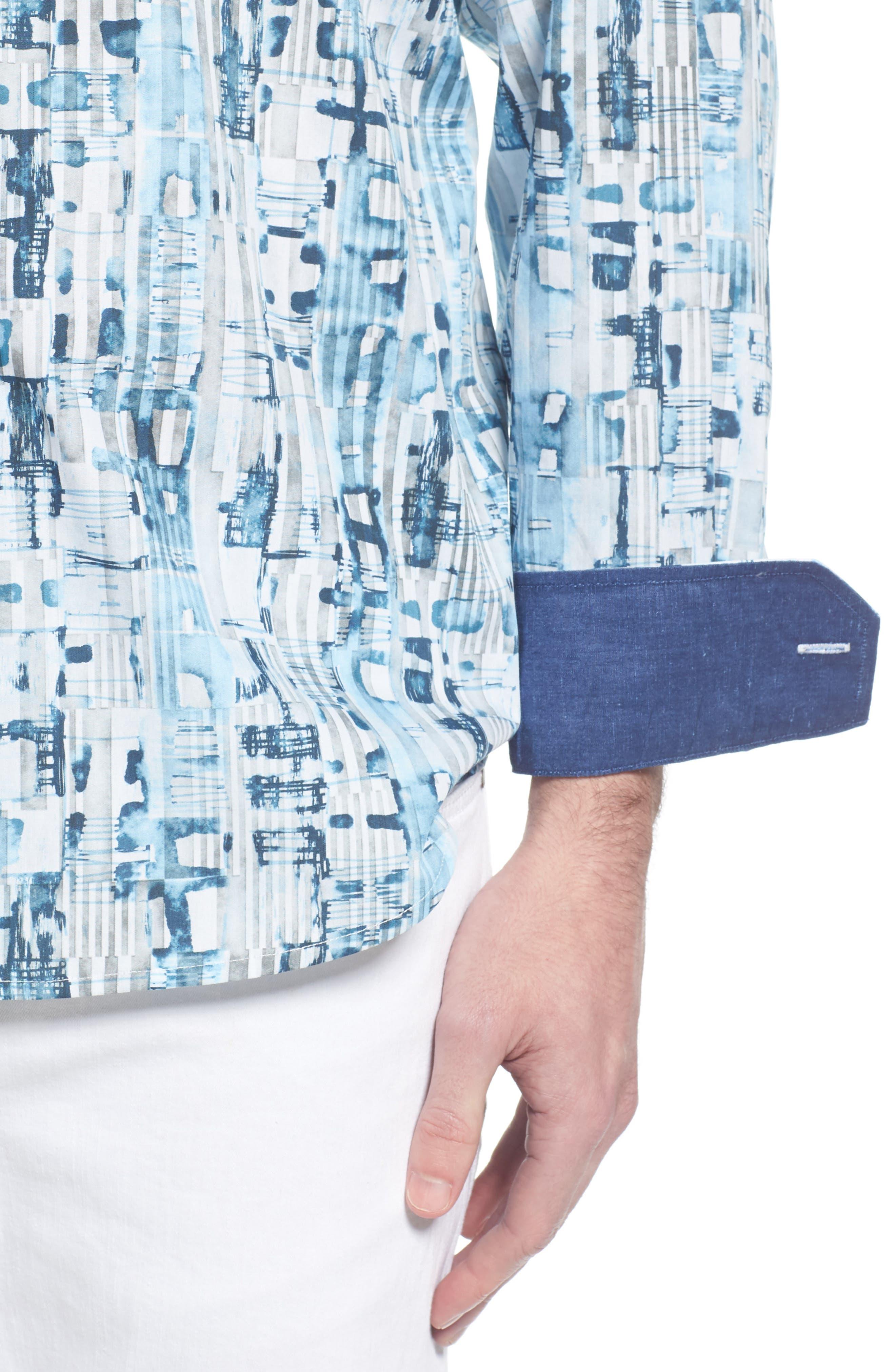 Classic Fit Abstract Stripe Print Sport Shirt,                             Alternate thumbnail 2, color,                             Aqua