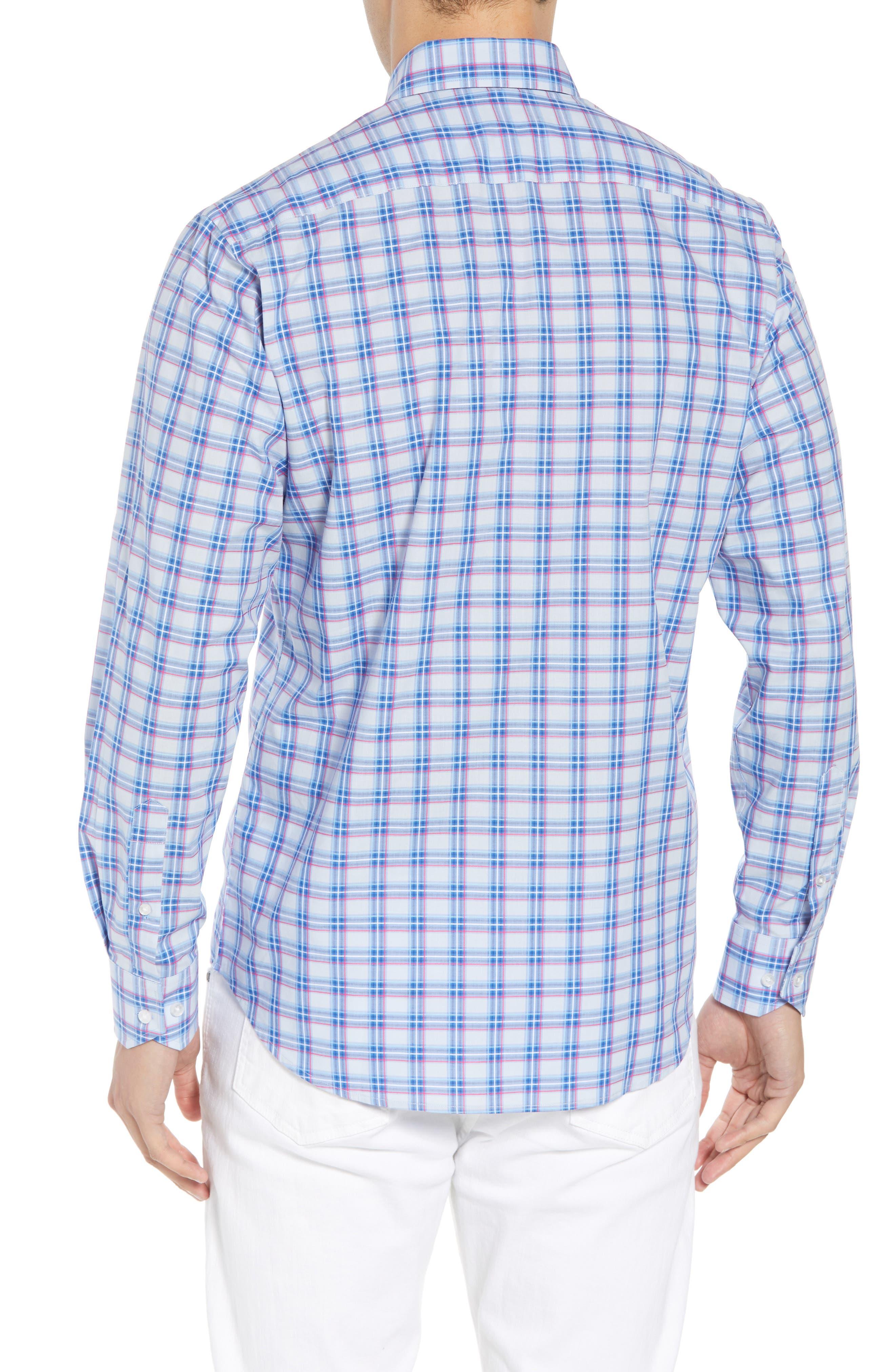 Alvaro Regular Fit Plaid Sport Shirt,                             Alternate thumbnail 3, color,                             Light Blue