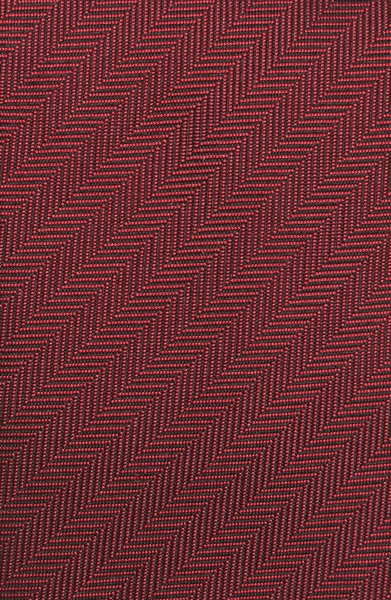 Herringbone Silk Tie,                             Alternate thumbnail 2, color,                             Parade Red