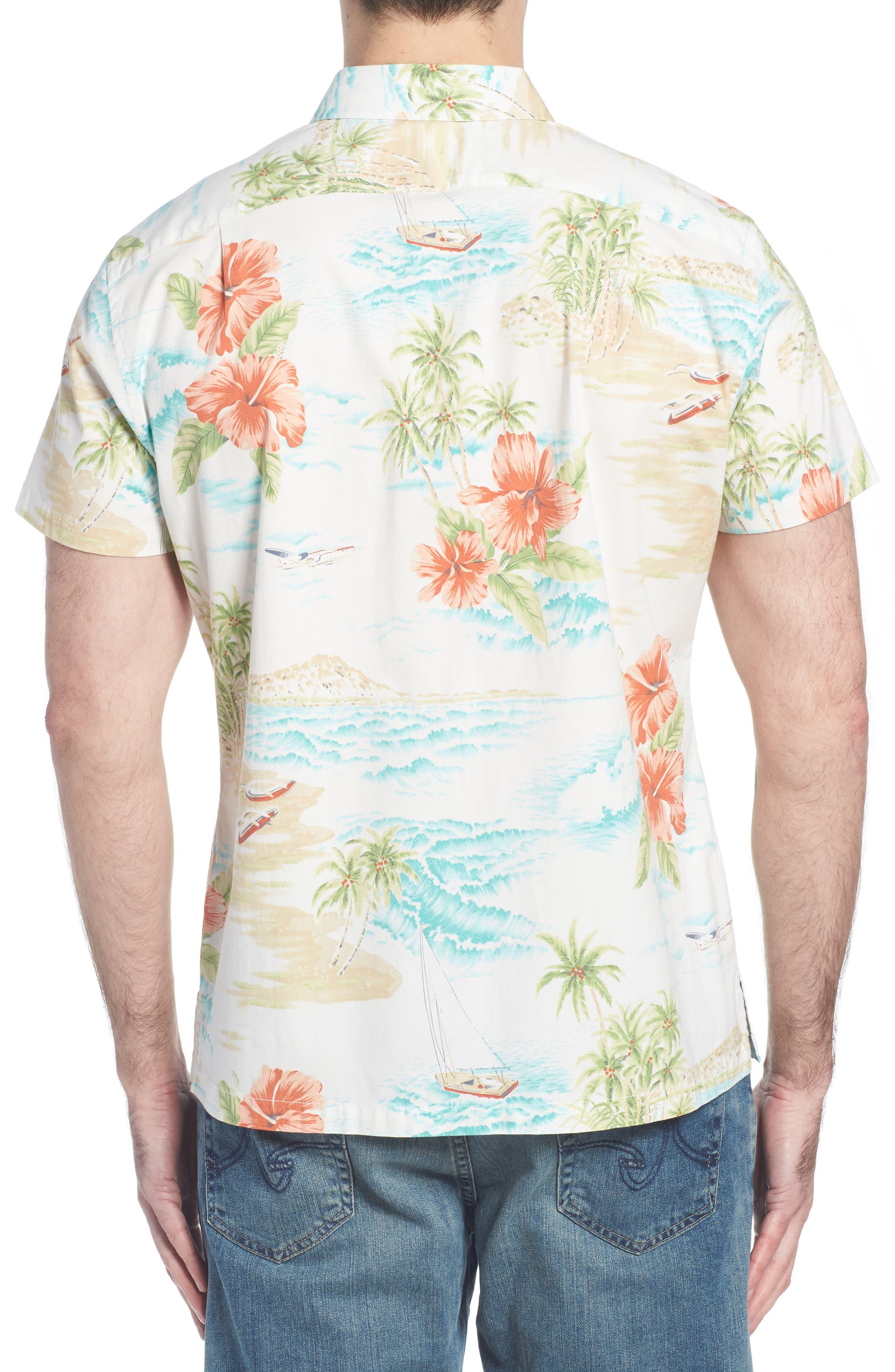 Rest Ashored Trim Fit Camp Shirt,                             Alternate thumbnail 5, color,                             White