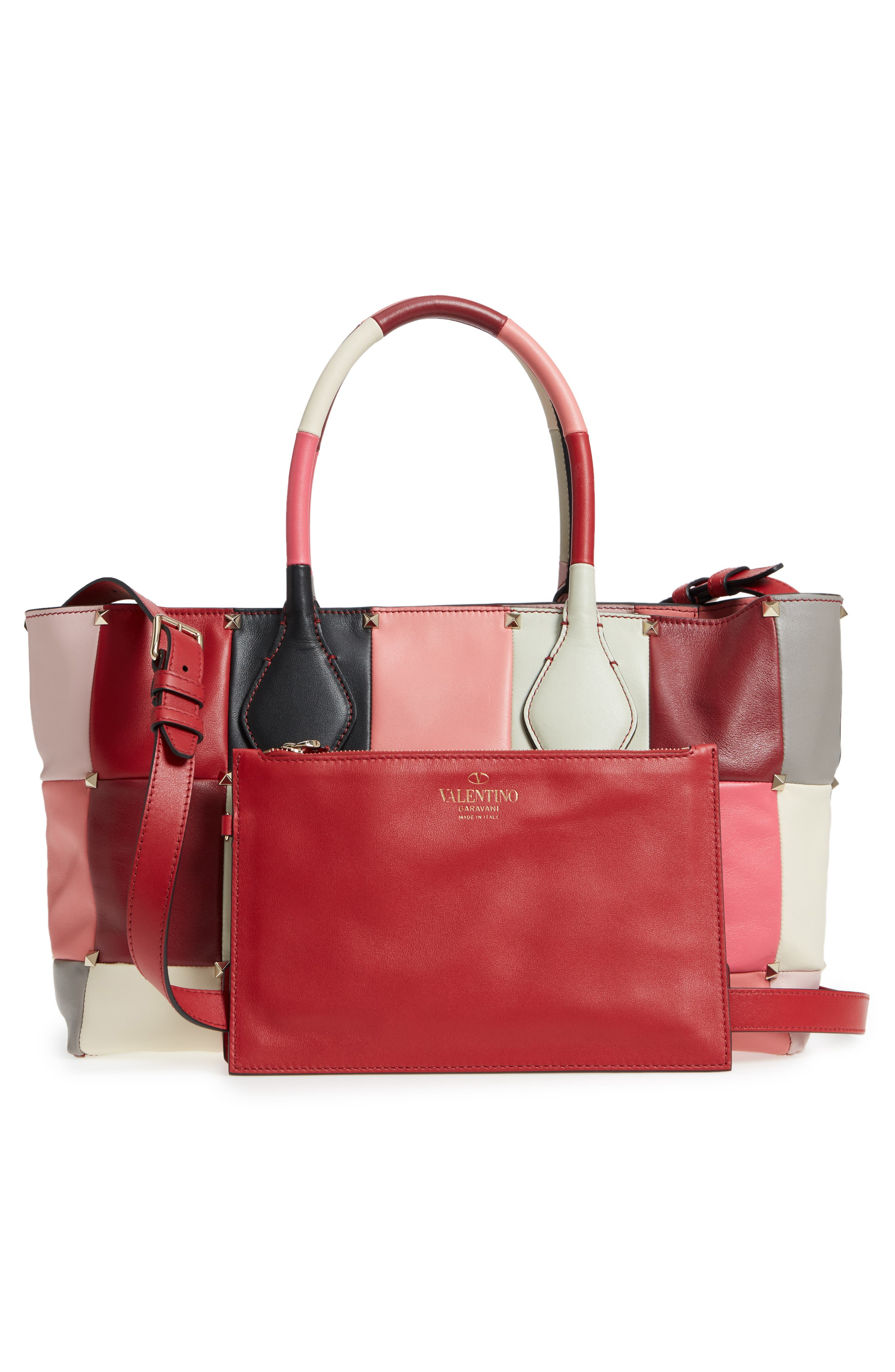 Puzzlestud Small Patchwork Leather Tote,                             Alternate thumbnail 3, color,                             Rose Multicolor