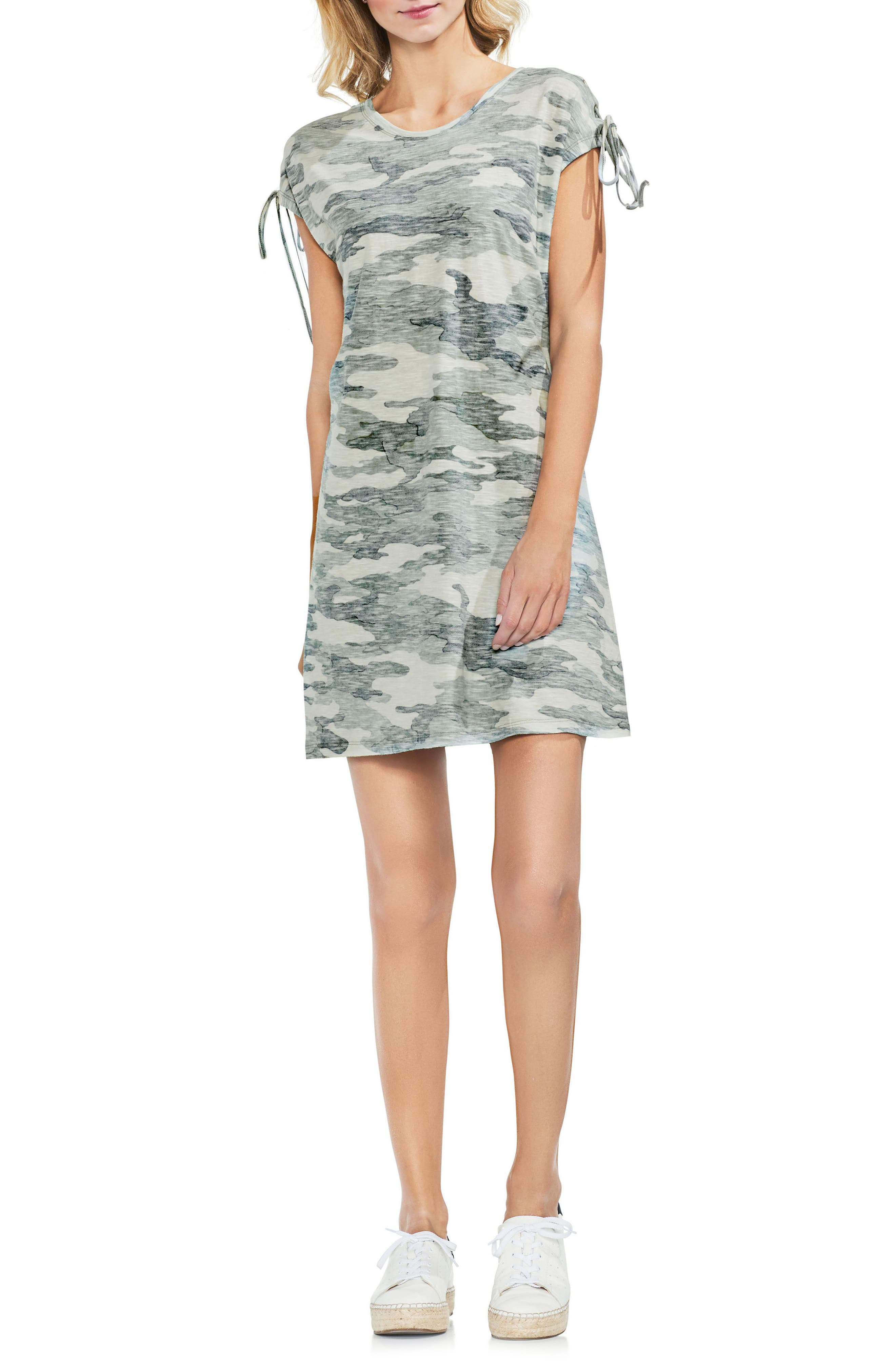 Lace-Up Shoulder Camo Dress,                         Main,                         color, Canopy Green