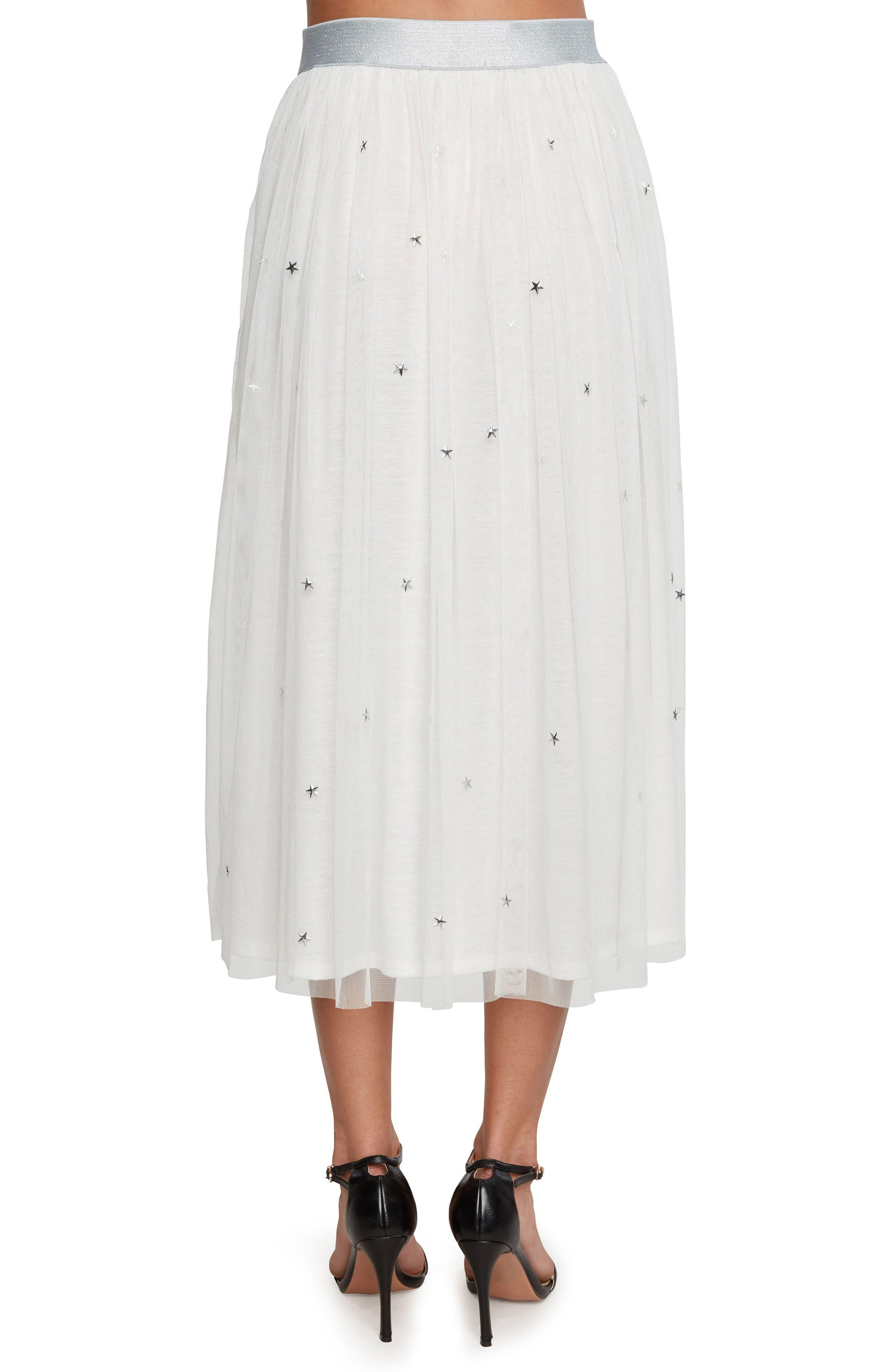 Star Studded Mesh Skirt,                             Alternate thumbnail 2, color,                             Vellum
