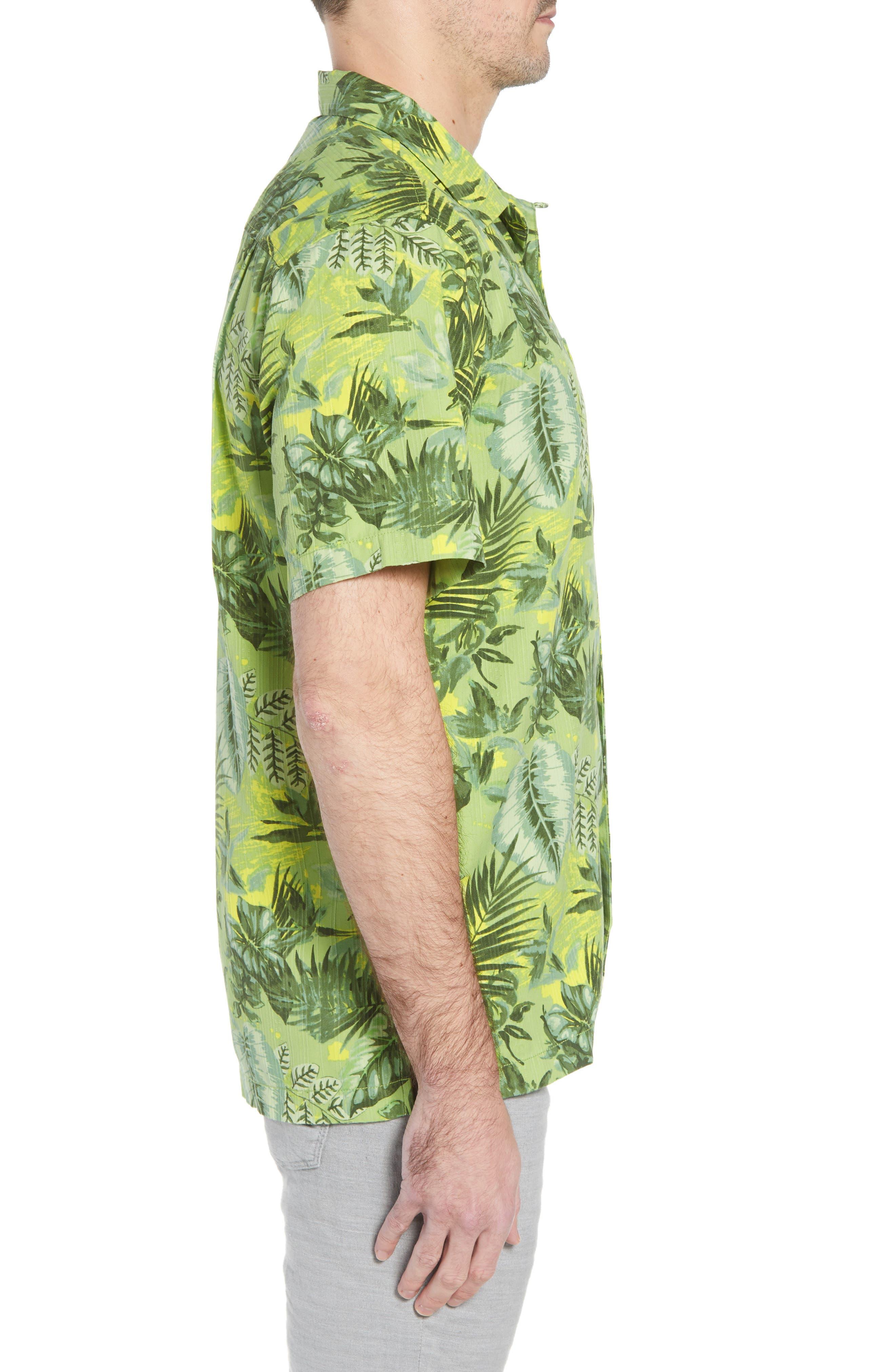 Selva Shores Silk Blend Performance Camp Shirt,                             Alternate thumbnail 4, color,                             Jasmine Green
