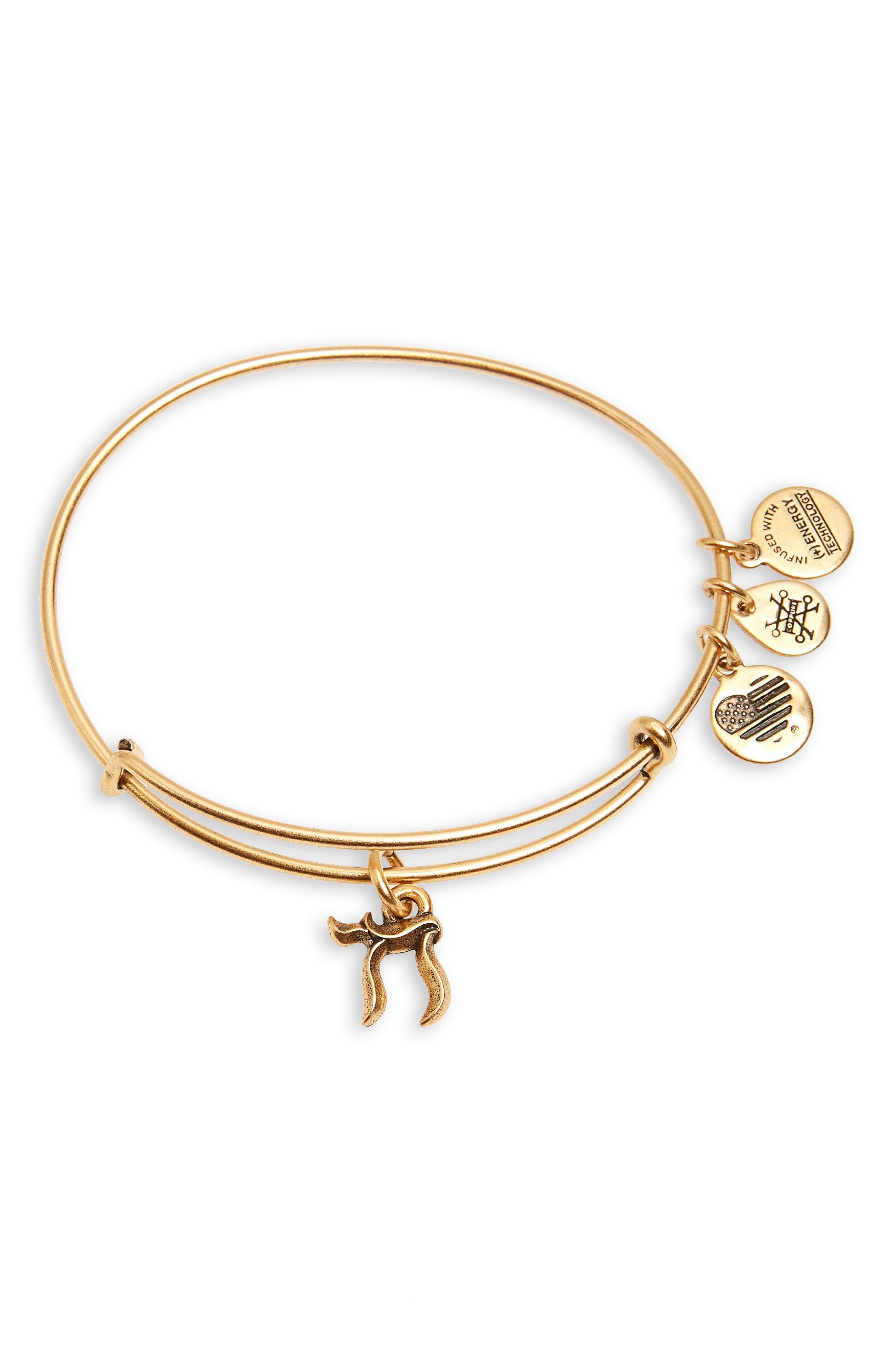 Chai Charm Bracelet,                         Main,                         color, Gold