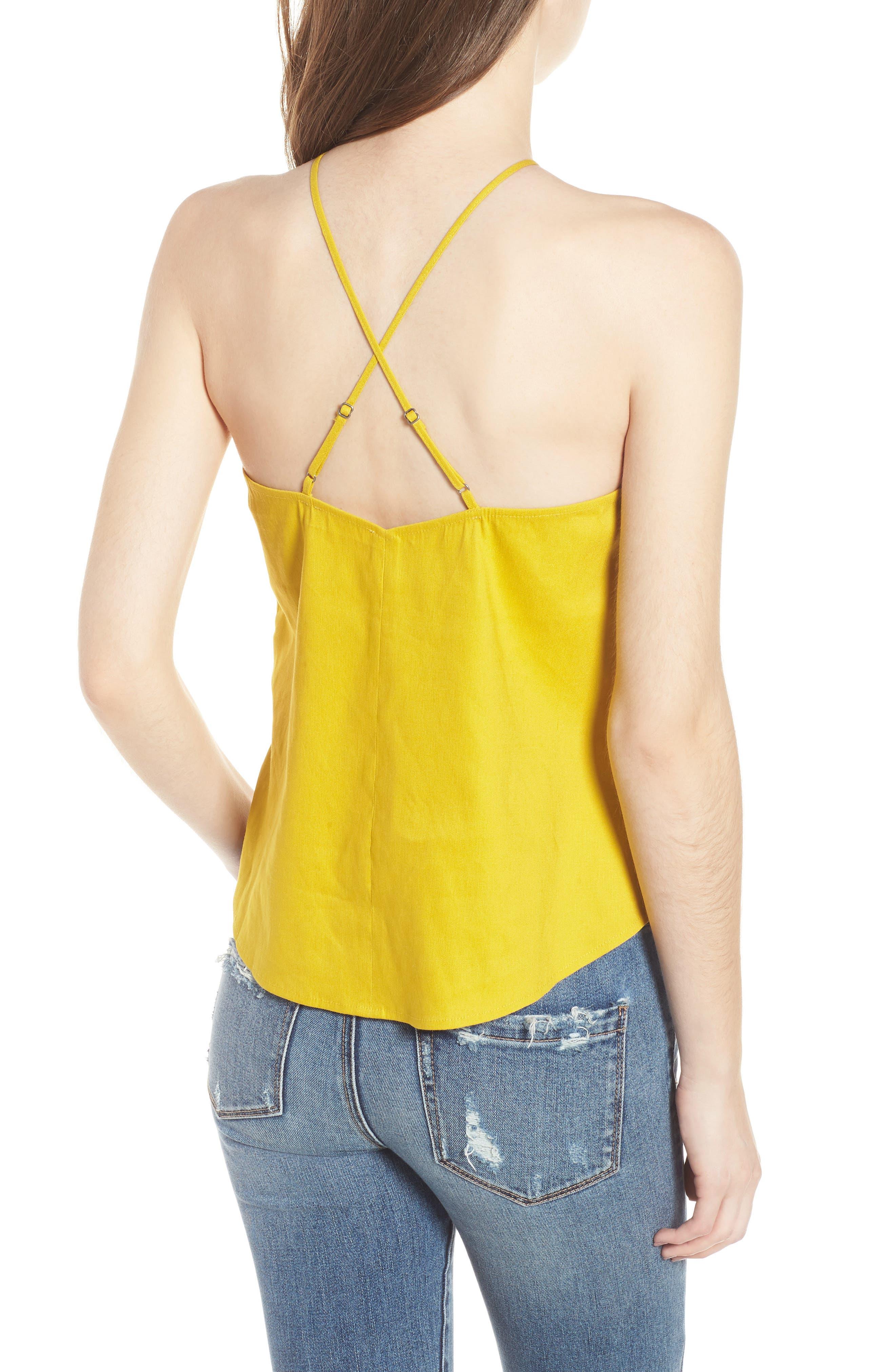 Linen Cami,                             Alternate thumbnail 2, color,                             Yellow Tea