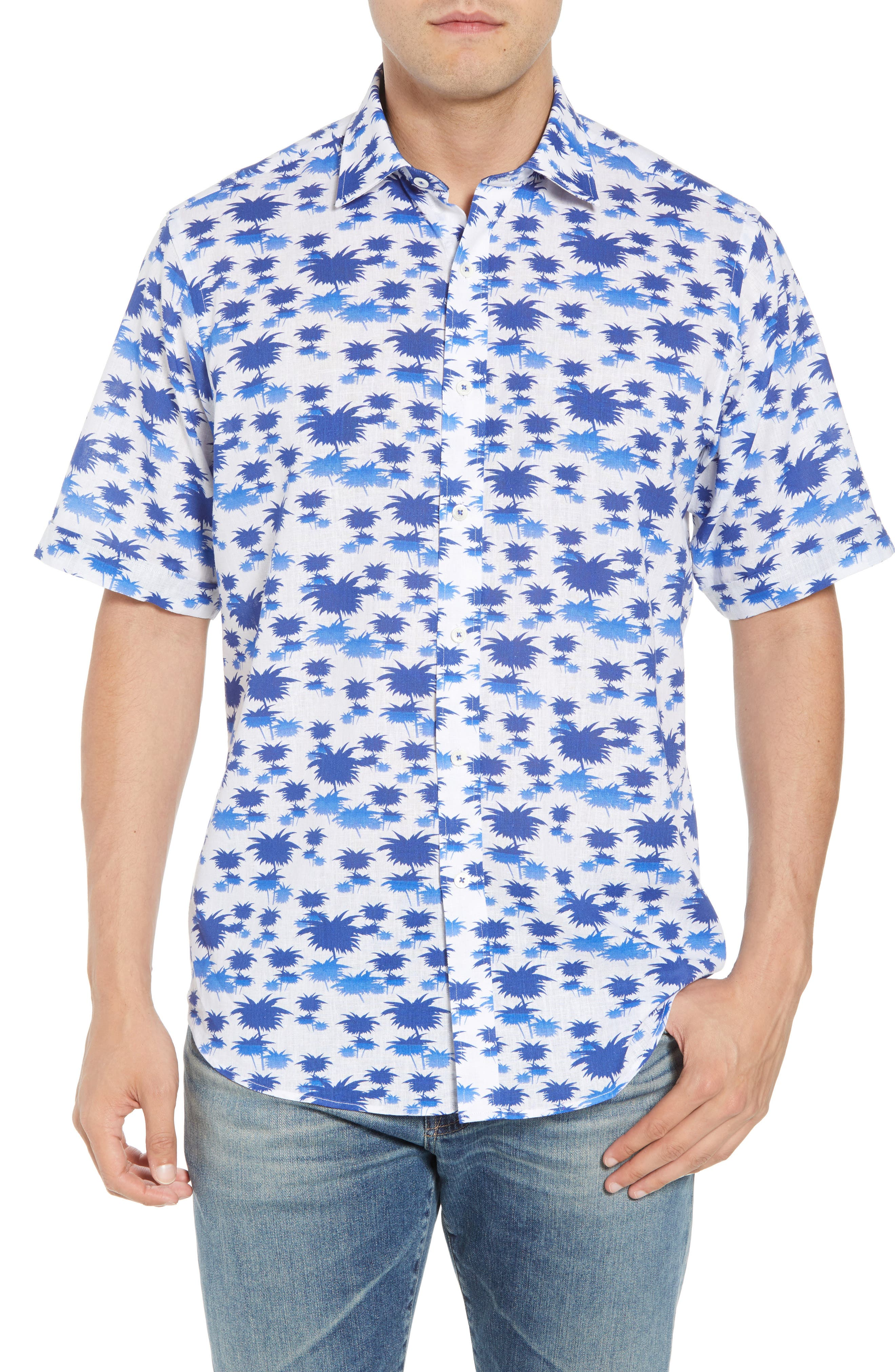 Classic Fit Palm Print Sport Shirt,                         Main,                         color, Classic Blue