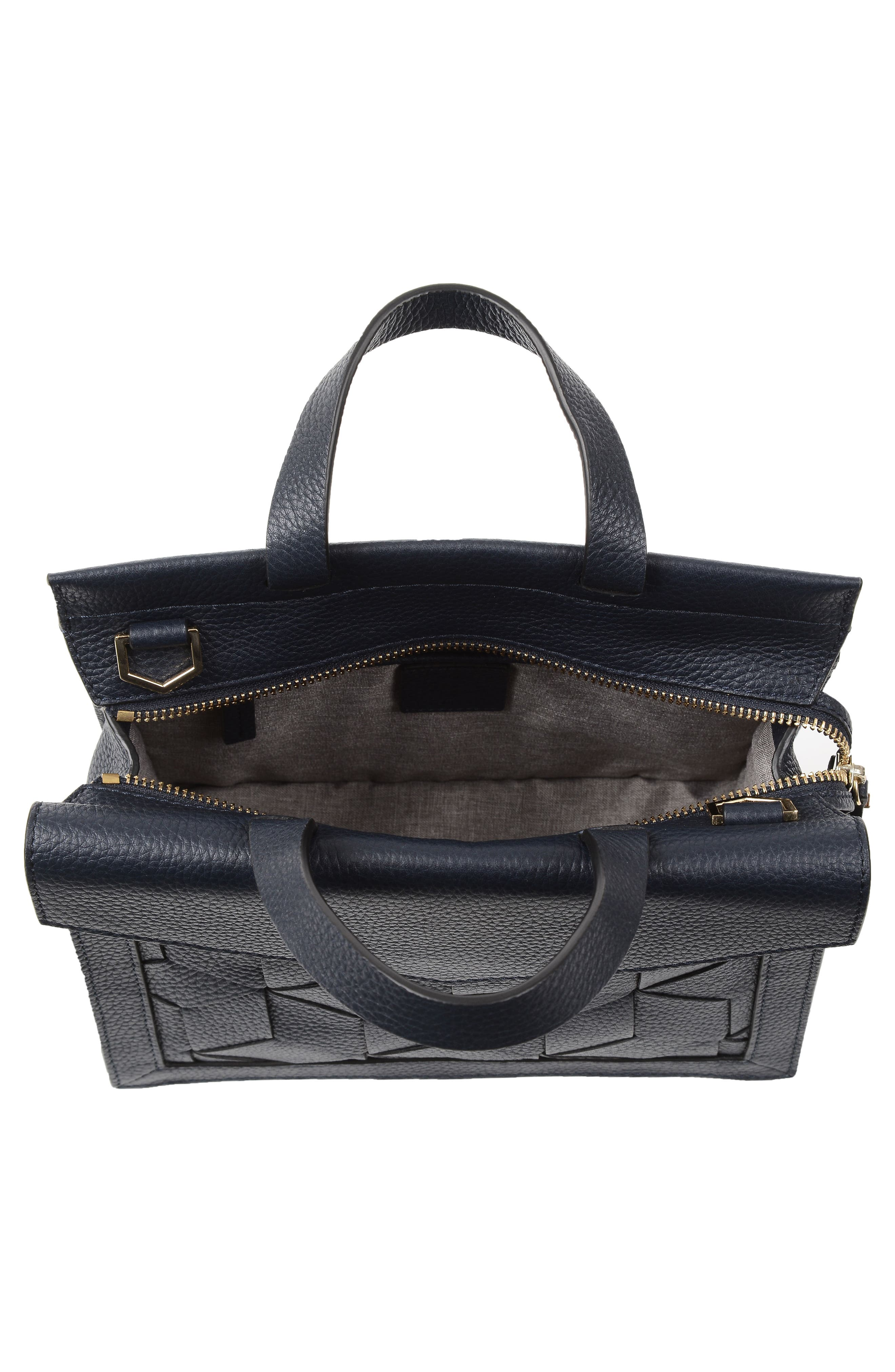 Small Voyager Leather Convertible Satchel,                             Alternate thumbnail 5, color,                             Navy