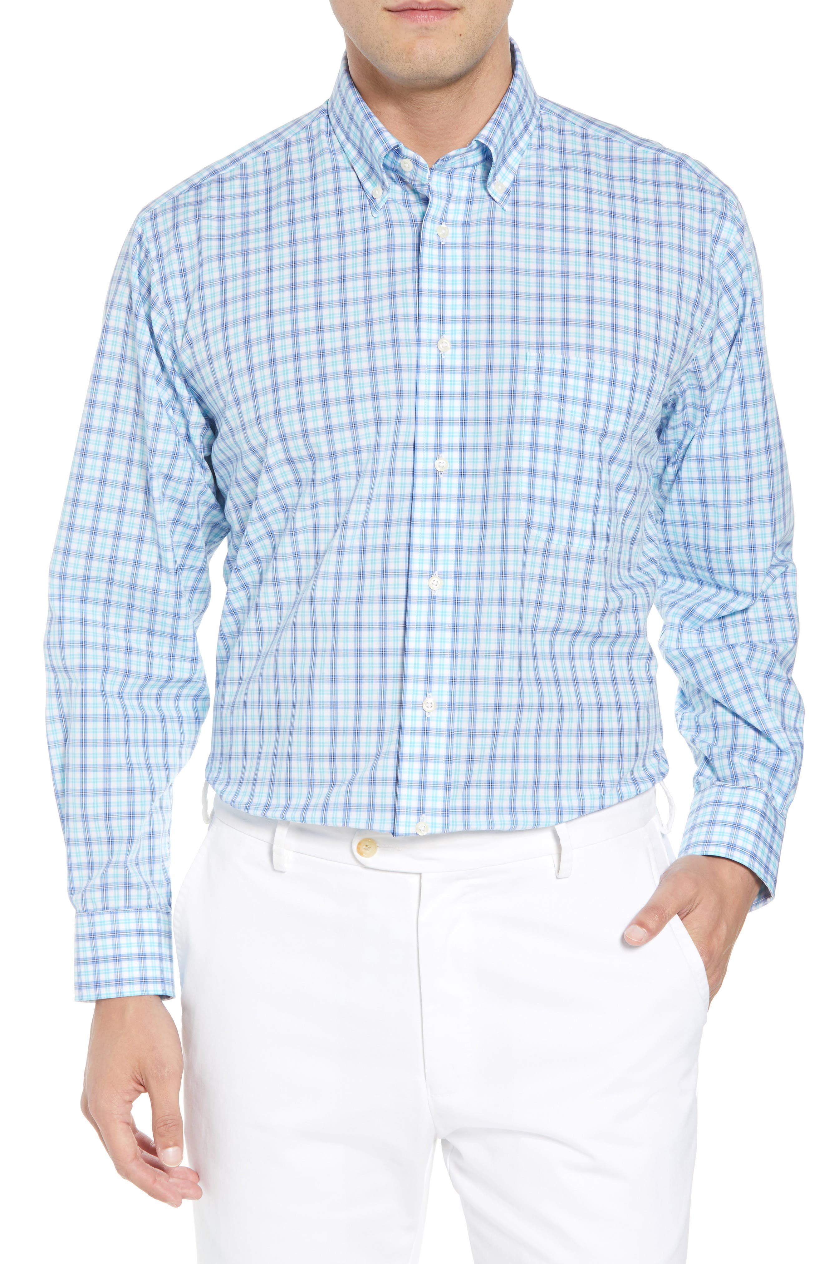 Tailored Fit Plaid Dress Shirt,                         Main,                         color, Teal