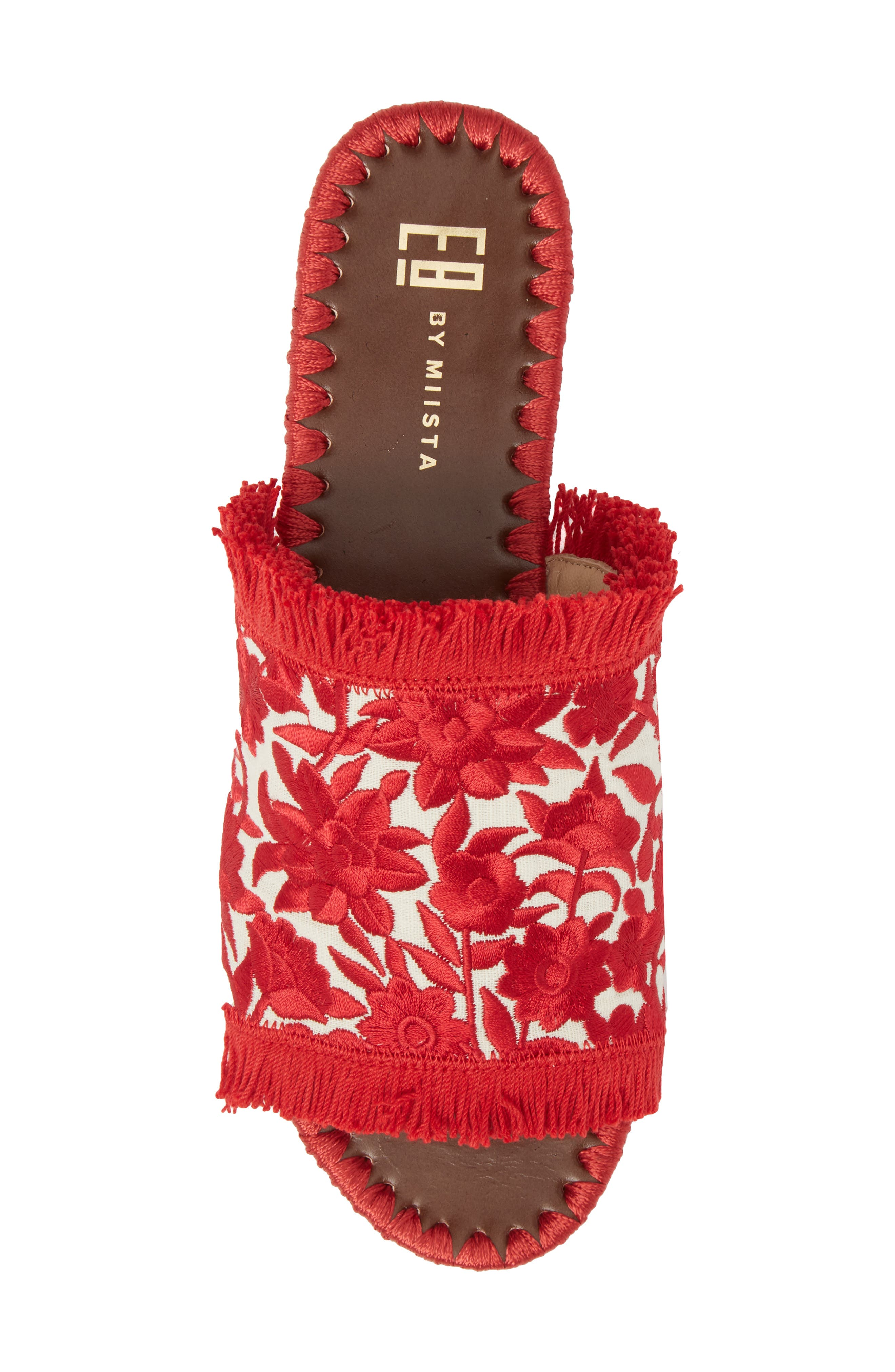 Tavie Fringed Slide Sandal,                             Alternate thumbnail 5, color,                             Red/ Cream Fabric