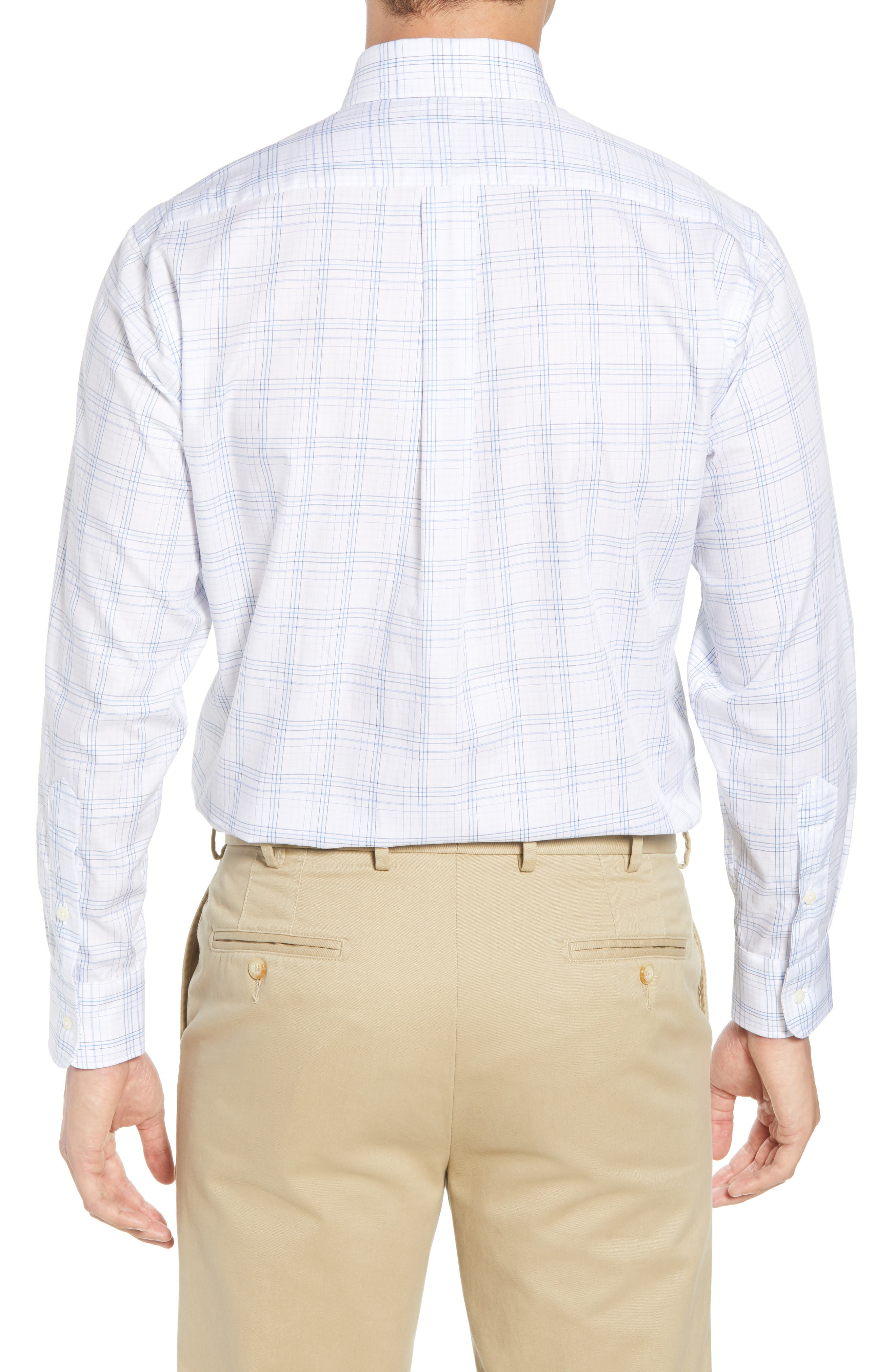 Tailored Fit Plaid Dress Shirt,                             Alternate thumbnail 3, color,                             Blue